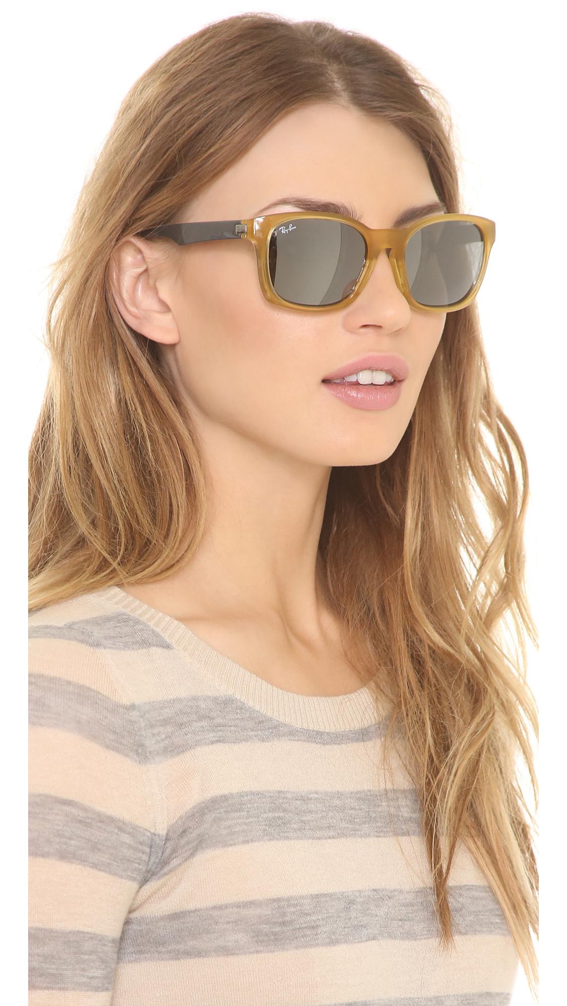 88adb3648a77b Lyst - Ray-Ban Oversized Square Sunglasses - Opal Yellow Silver ...