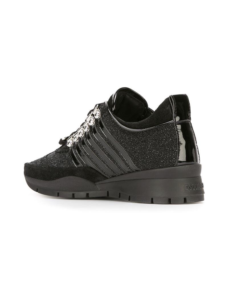 Glitter Dsquared2 Sneakers Lambrissés - Noir 2NmUjFc