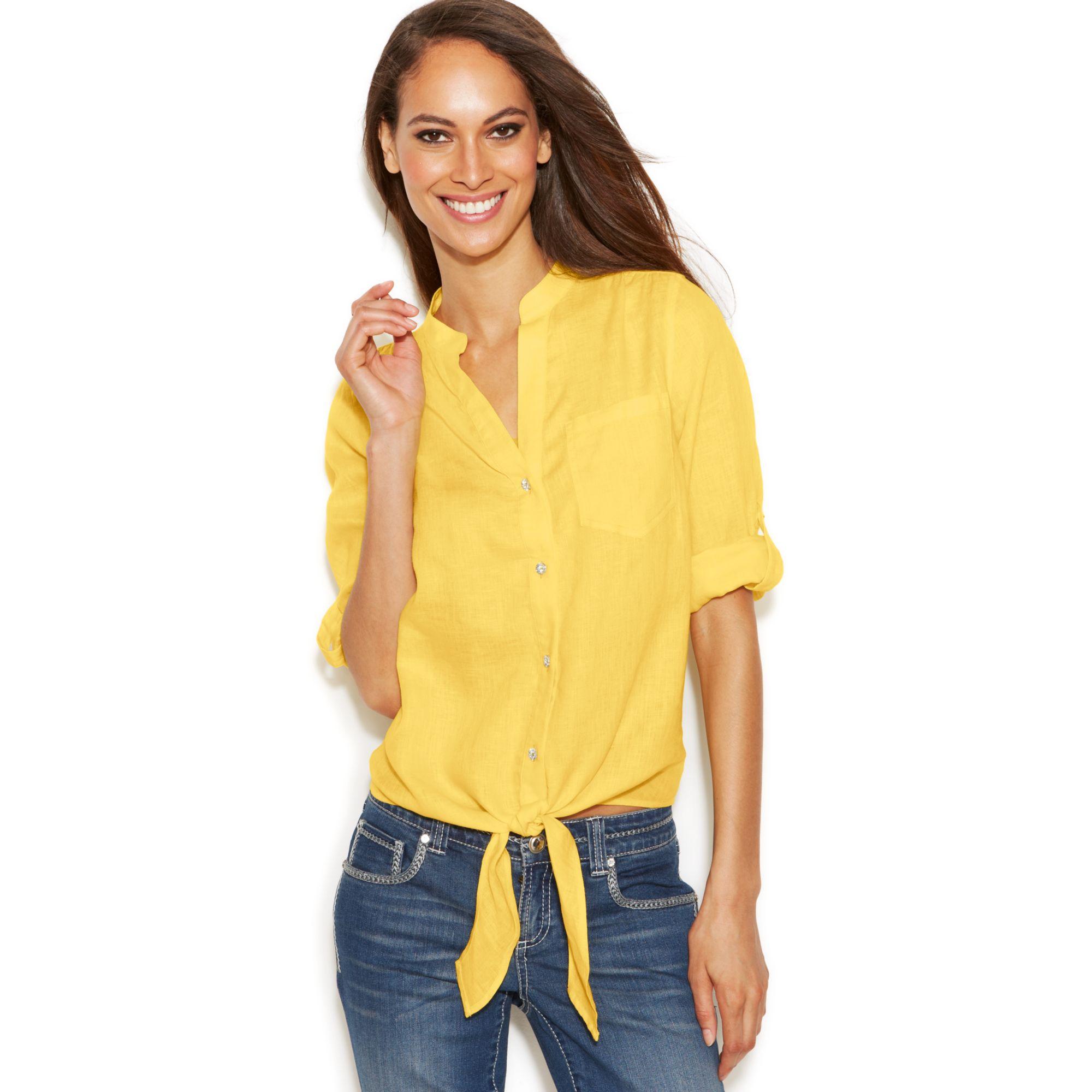 Inc International Concepts Linen Button Down Tie Front