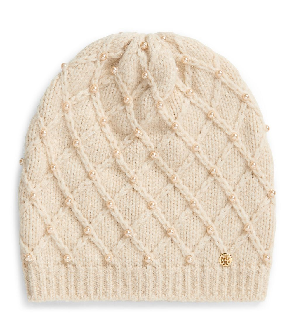 f9702d40172 Lyst - Tory Burch Pearl Cable Hat in White