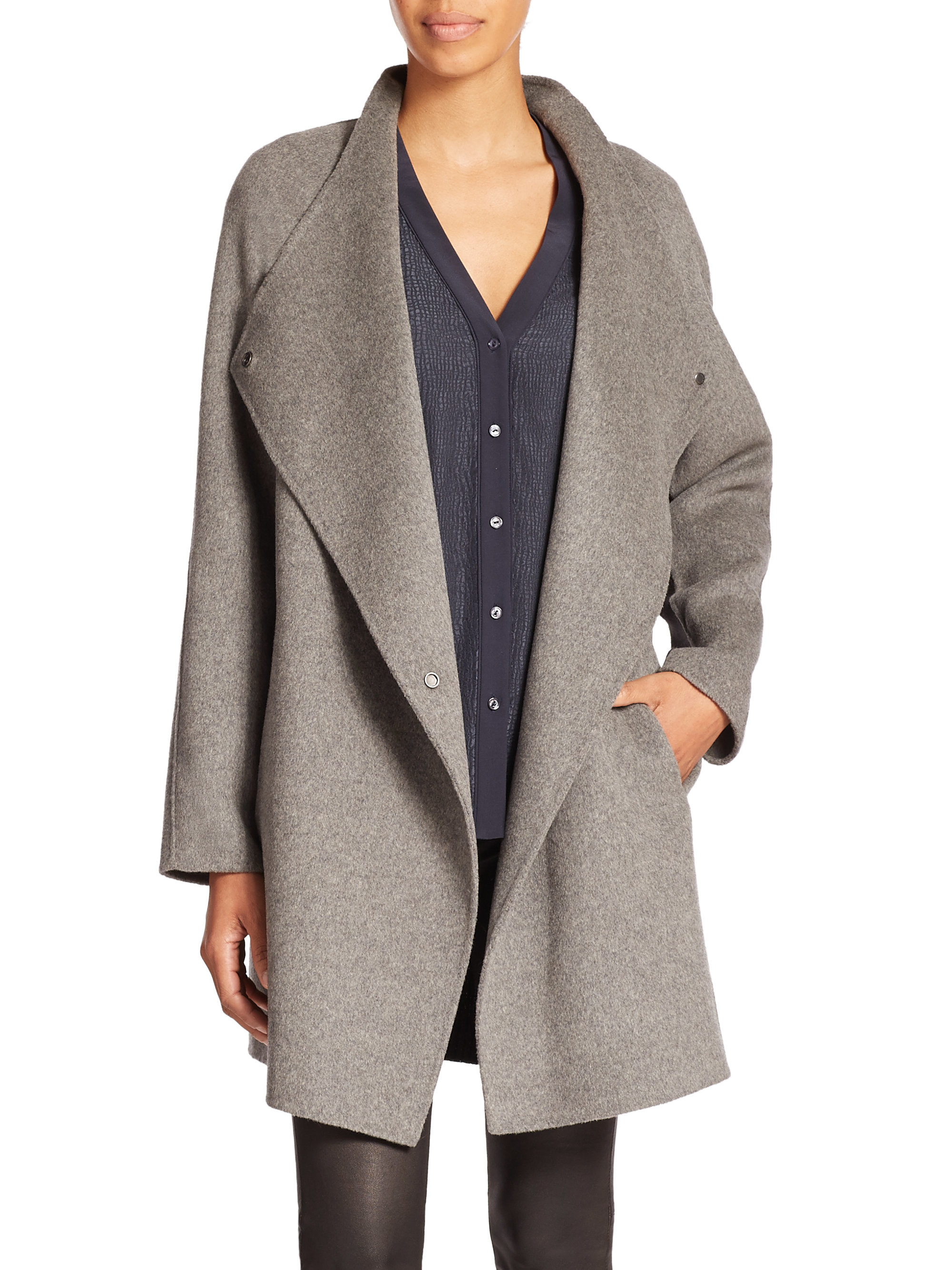 Vince two tone wool jacket in natural lyst for Best wool shirt jackets