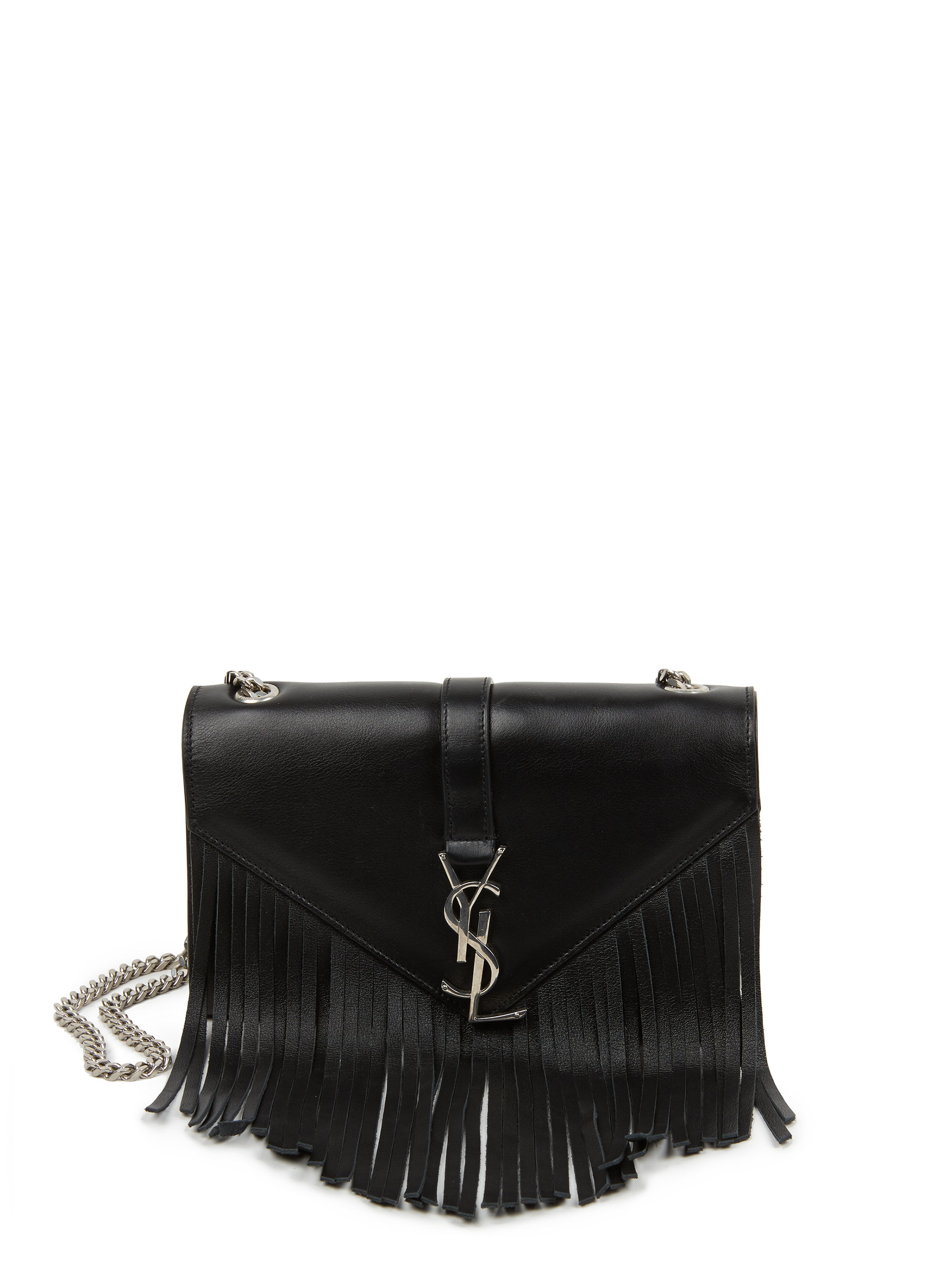 y purses - small monogram saint laurent fringed crossbody bag in black ...