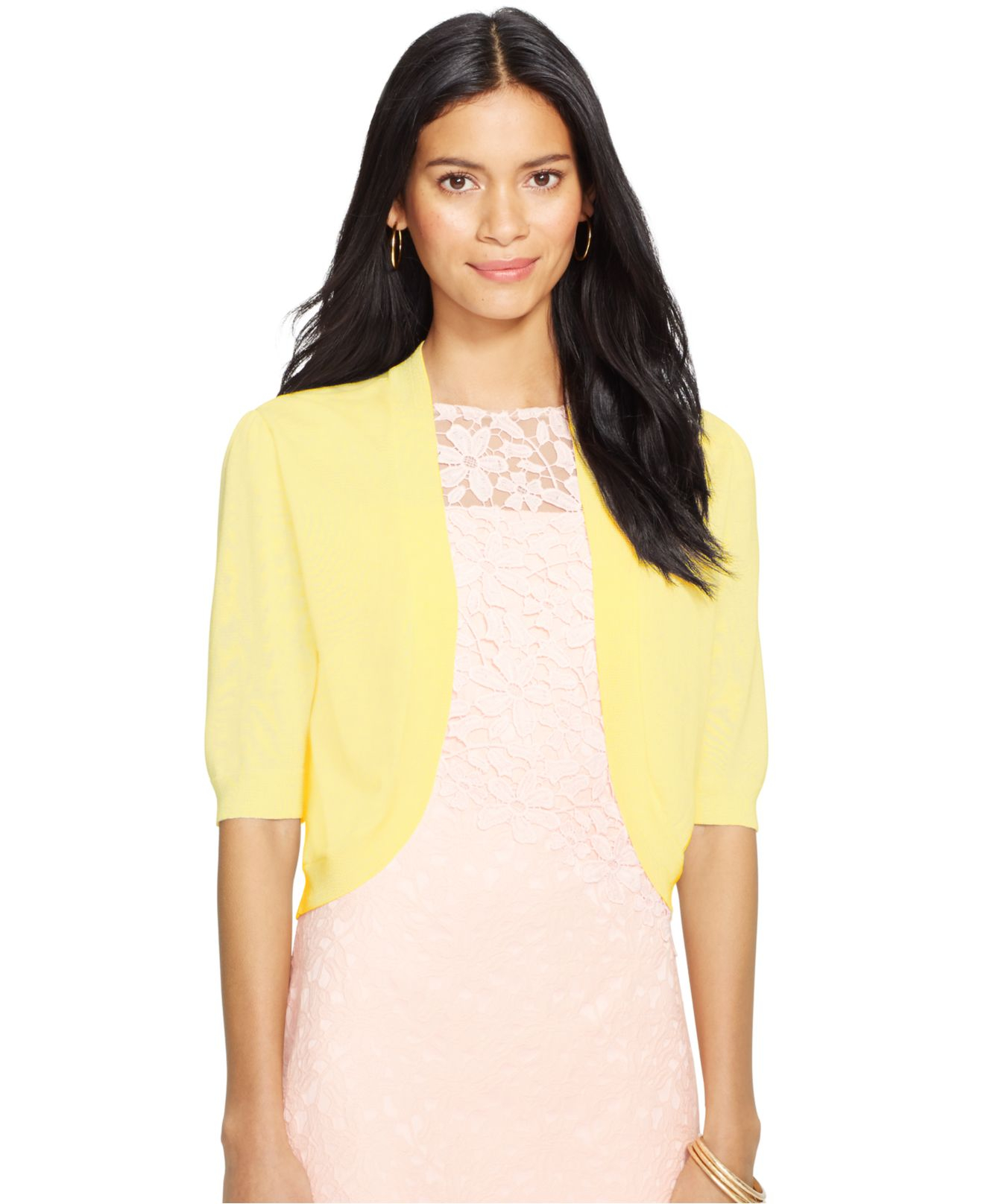 Lauren by ralph lauren Short-Sleeve Open-Front Cardigan in Yellow ...