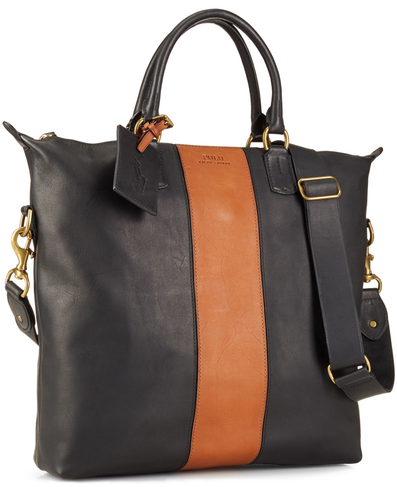 Polo Ralph Lauren Two Toned Leather Zip Tote In Black Lyst