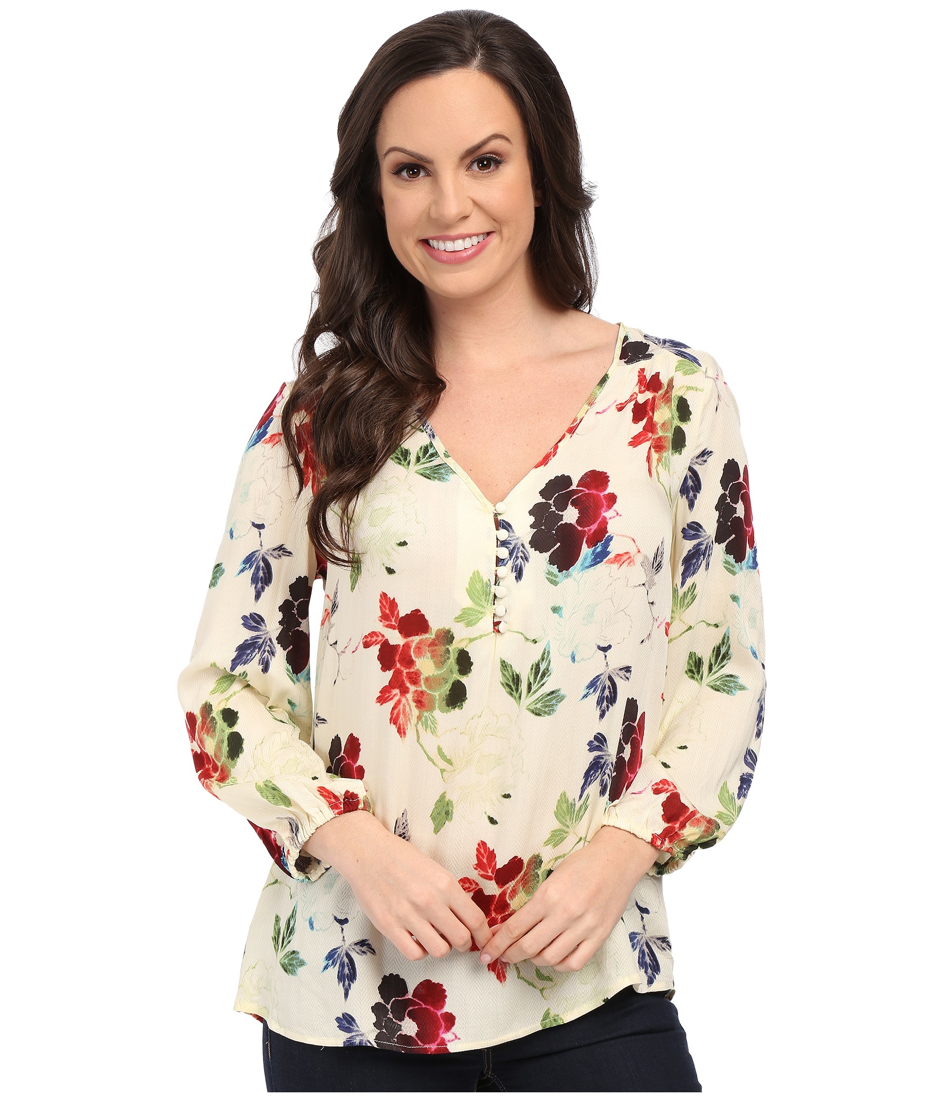 d71d655047854 Lyst - Stetson Textured Floral Print Rayon Blouse in White