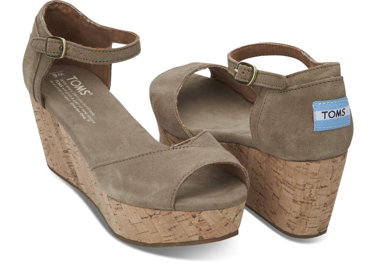 toms taupe suede s platform wedges in brown taupe