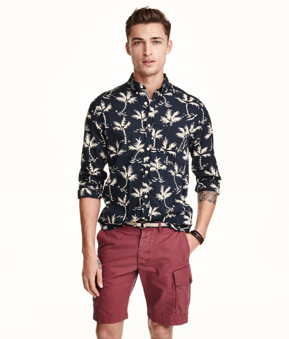 Lyst h m patterned cotton shirt in blue for men for Patterned dress shirts for men