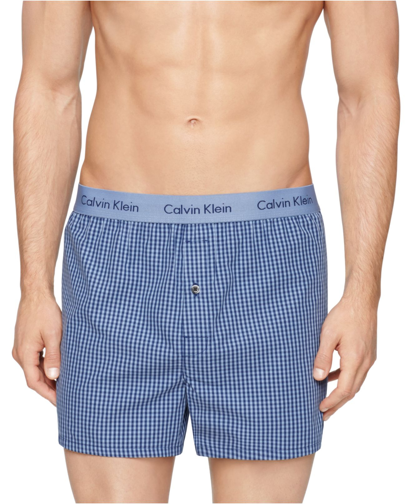 calvin klein calvin klein men 39 s woven slim fit boxers in blue for men lyst. Black Bedroom Furniture Sets. Home Design Ideas