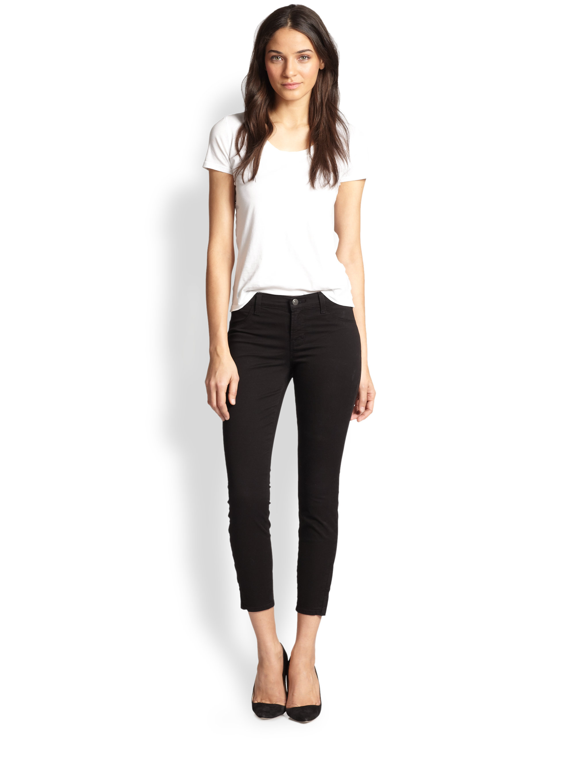 J brand 835 Rail Cropped Skinny Jeans in Black  Lyst