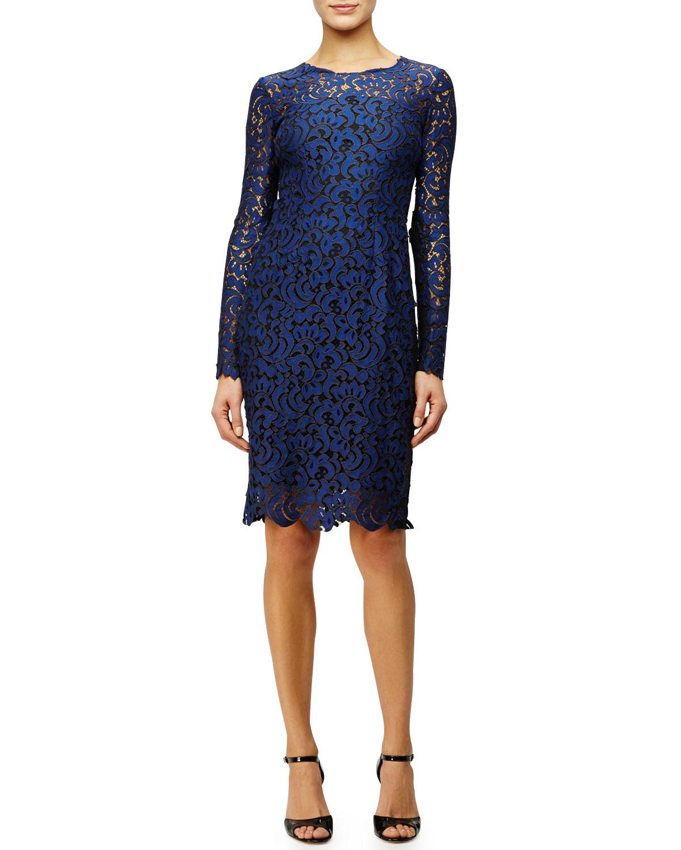e15868c78cefa Elie Tahari Bellamy Long-sleeve Crochet Lace Dress in Blue - Lyst