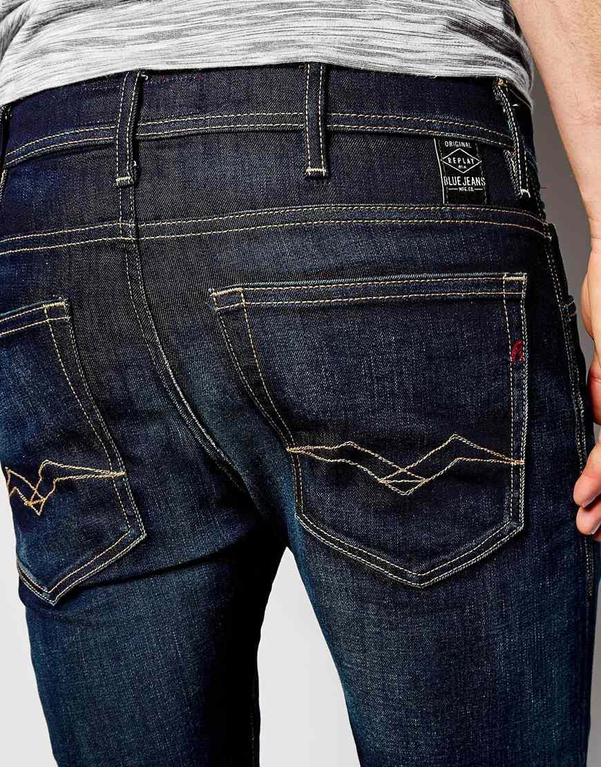 Lyst - Replay Jeans Jondrill Skinny Fit Stretch Dark Resin ...