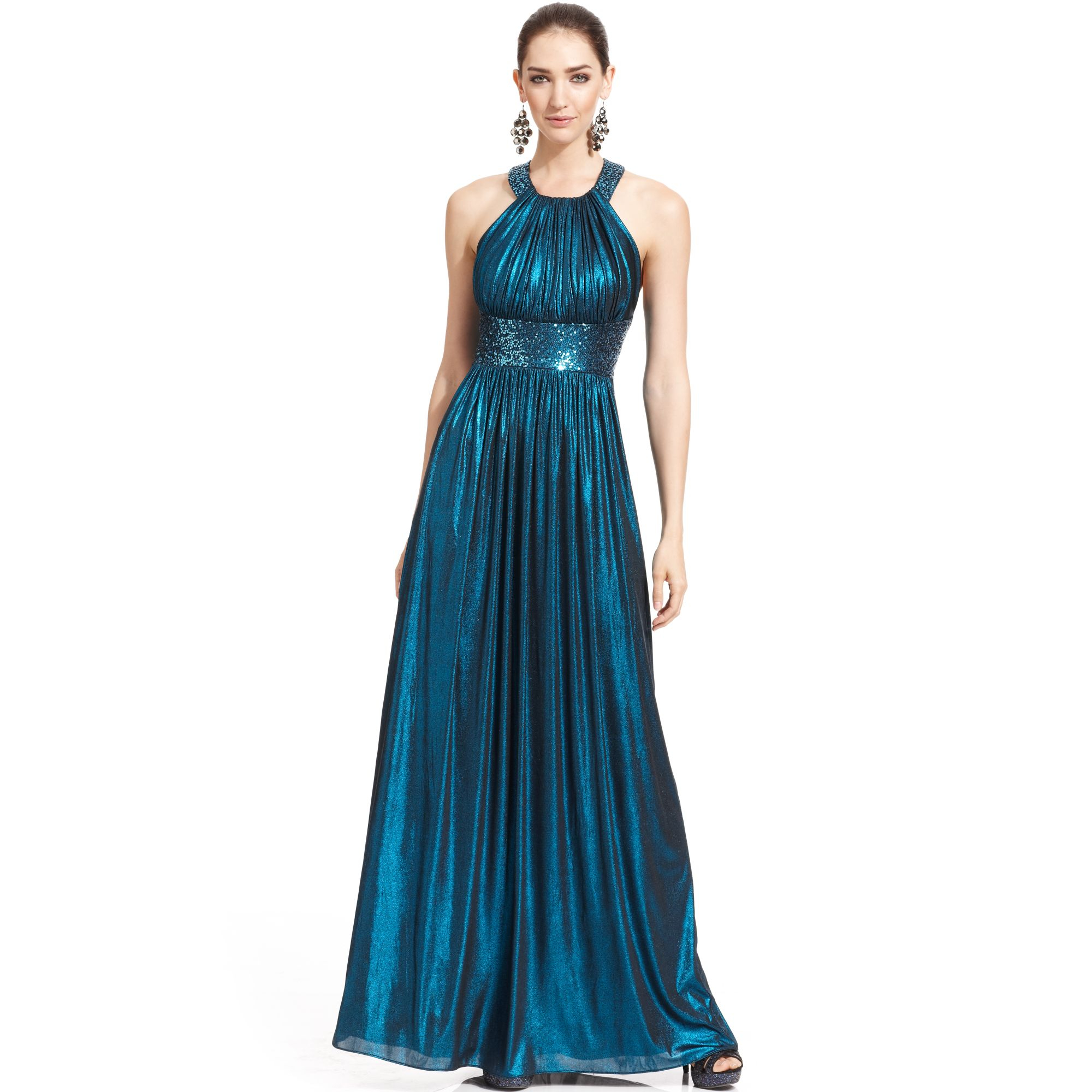 Calvin Klein Metallic Sequin Halter Gown in Blue ...