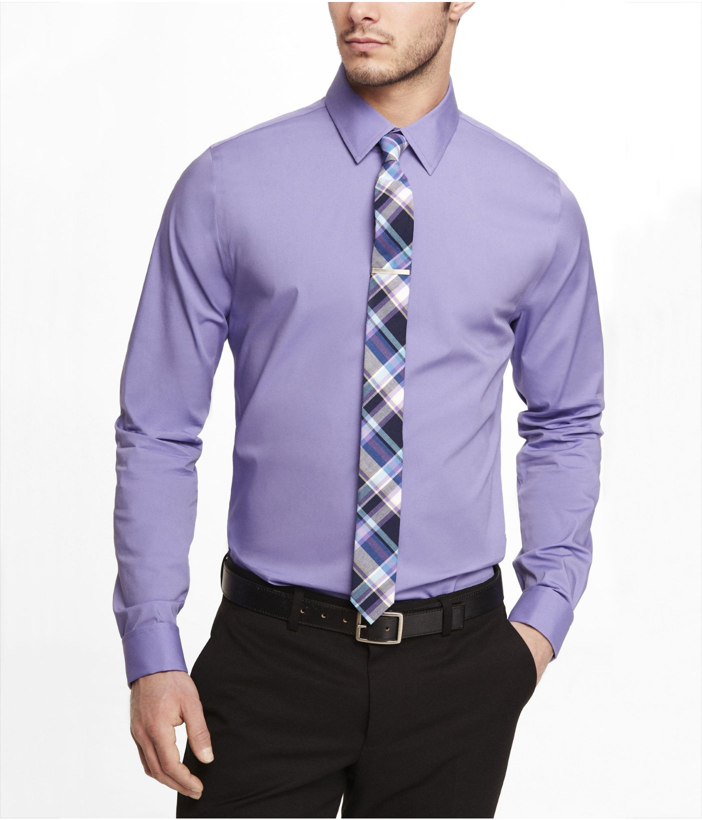 express extra slim 1mx french cuff shirt in purple for men