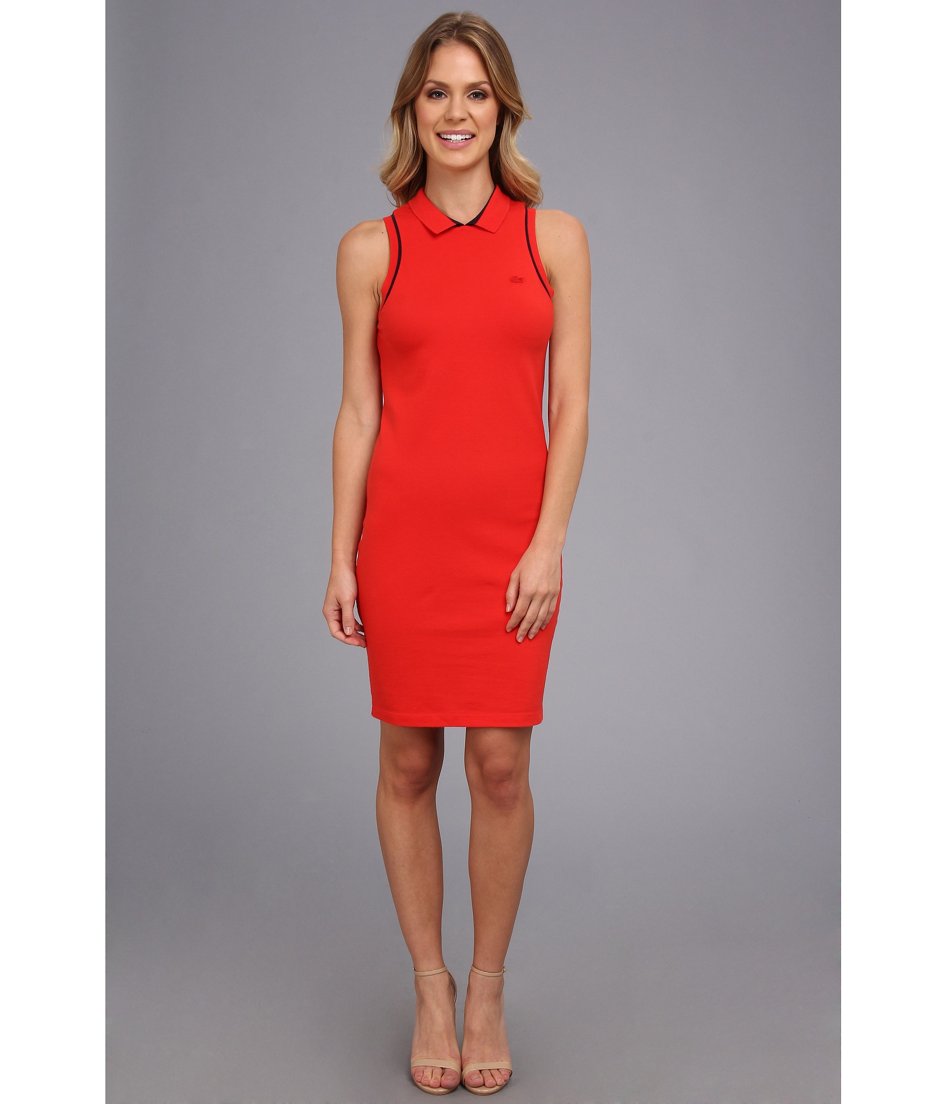 aa45c6103bcc76 Lyst - Lacoste Sleeveless Pique Polo Dress in Red