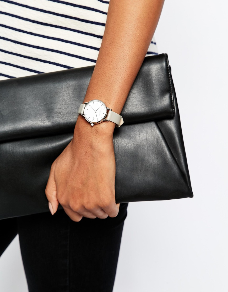 Lyst - Olivia Burton Livia Burton Dandy Grey Midi Dial Leather Watch ... 10c1ea1173