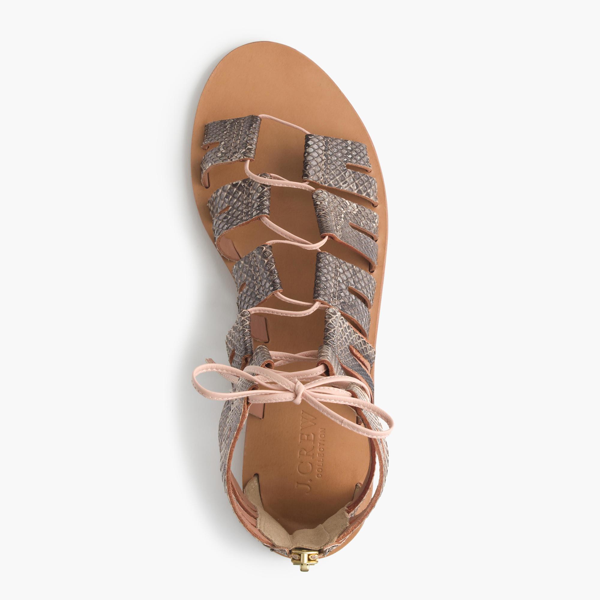 8ebbc224c542 J.Crew Aztec Snakeskin Lace-up Gladiator Sandals - Lyst
