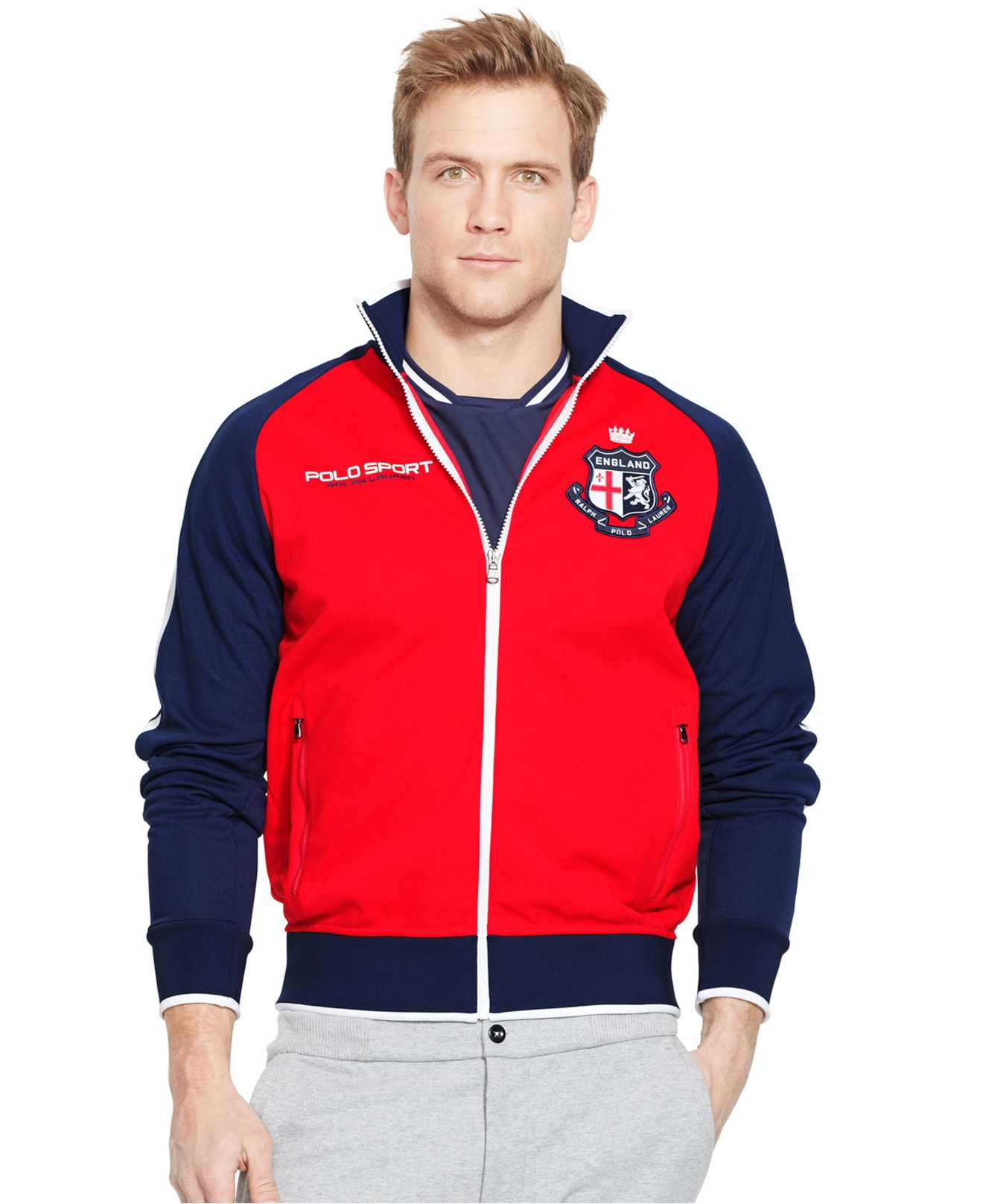 Polo ralph lauren Polo Sport England Pique Track Jacket in Red for ...
