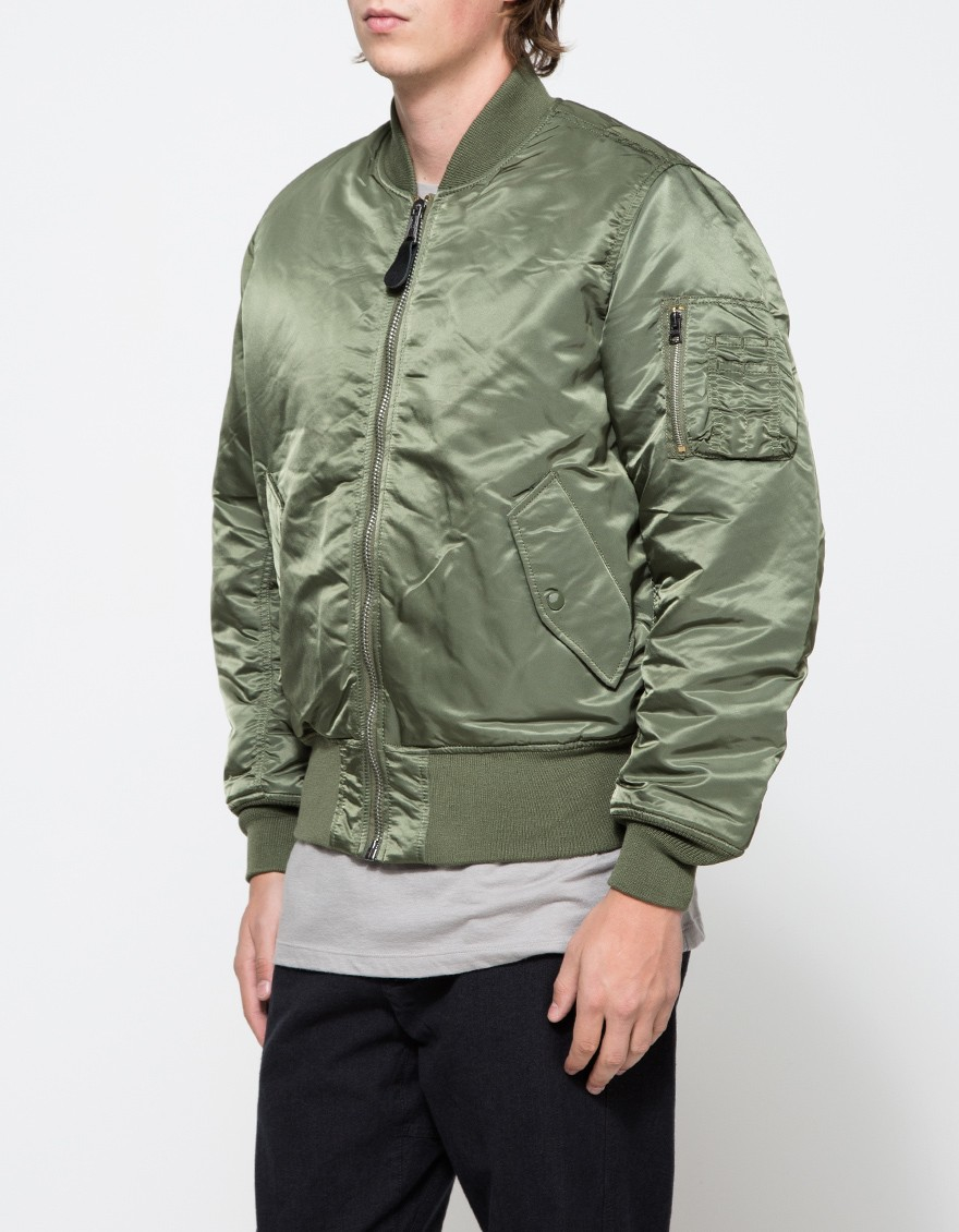 Alpha industries Ma-1 Satin Flight Jacket in Green for Men | Lyst
