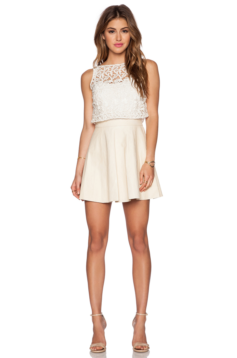 White leather and lace dress