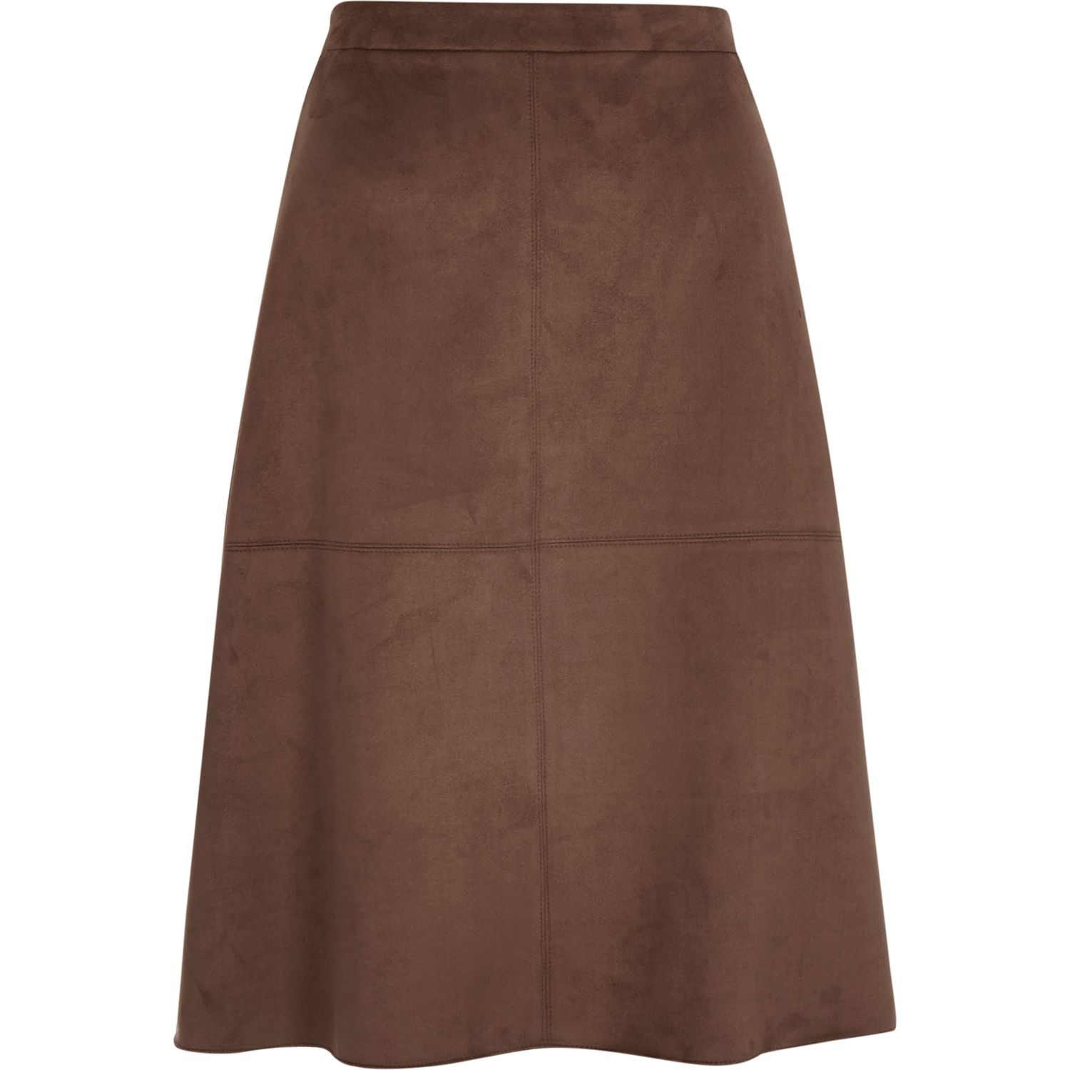 river island brown faux suede midi skirt in brown lyst