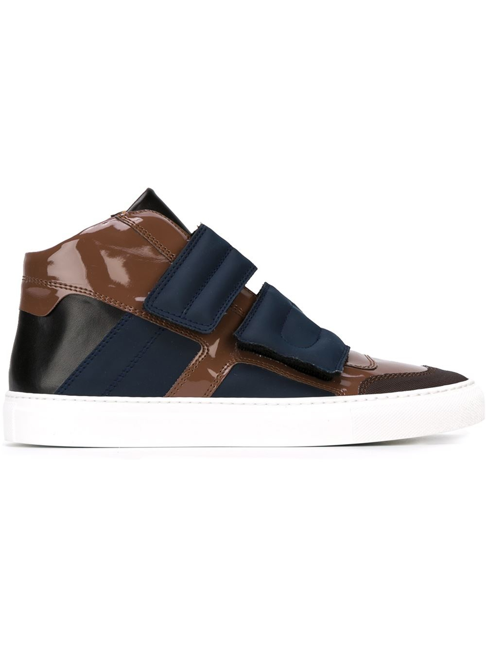 mm6 by maison martin margiela velcro strap hi top sneakers in blue brown lyst. Black Bedroom Furniture Sets. Home Design Ideas