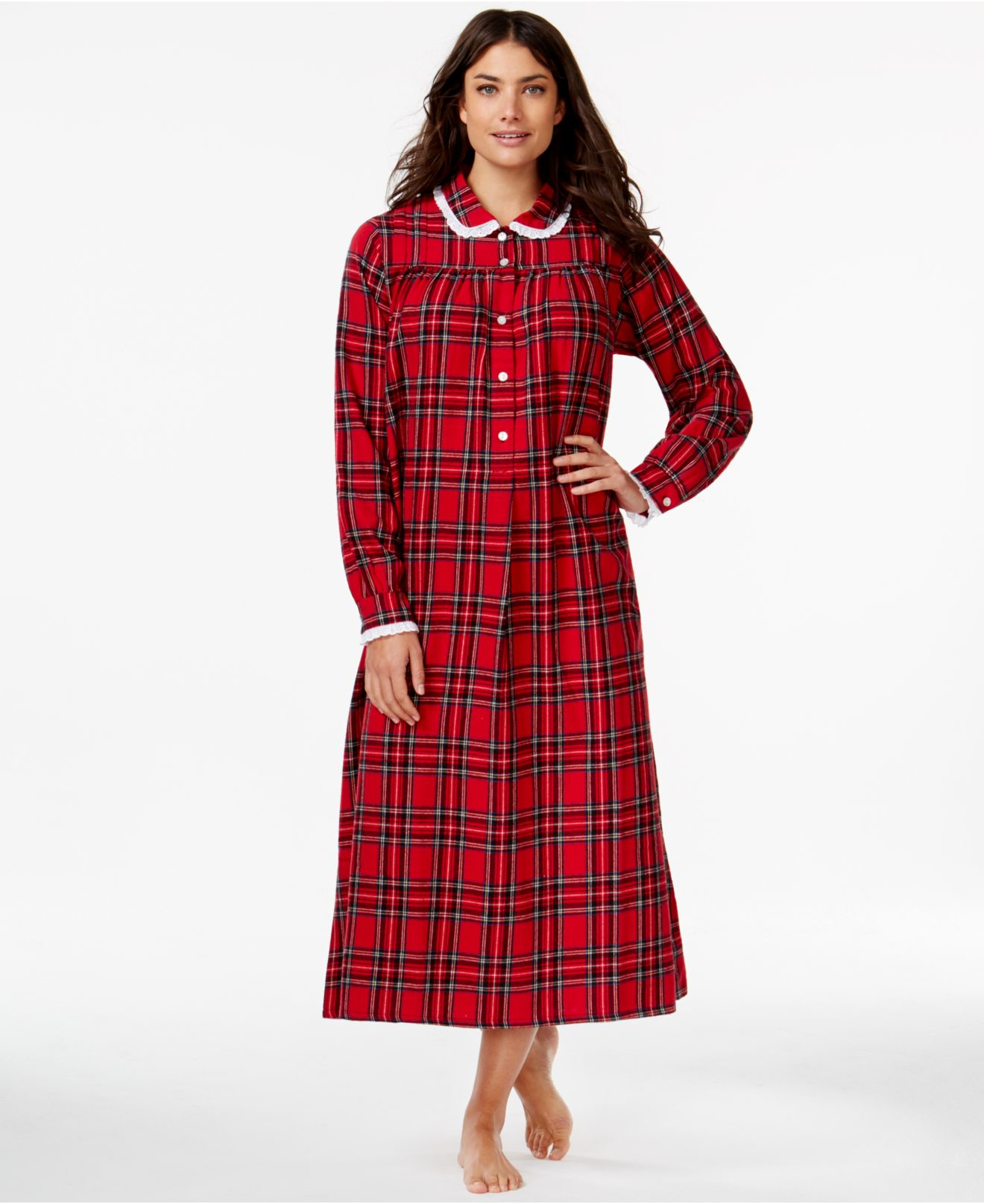 Lyst - Lanz Of Salzburg Collared Flannel Nightgown in Red