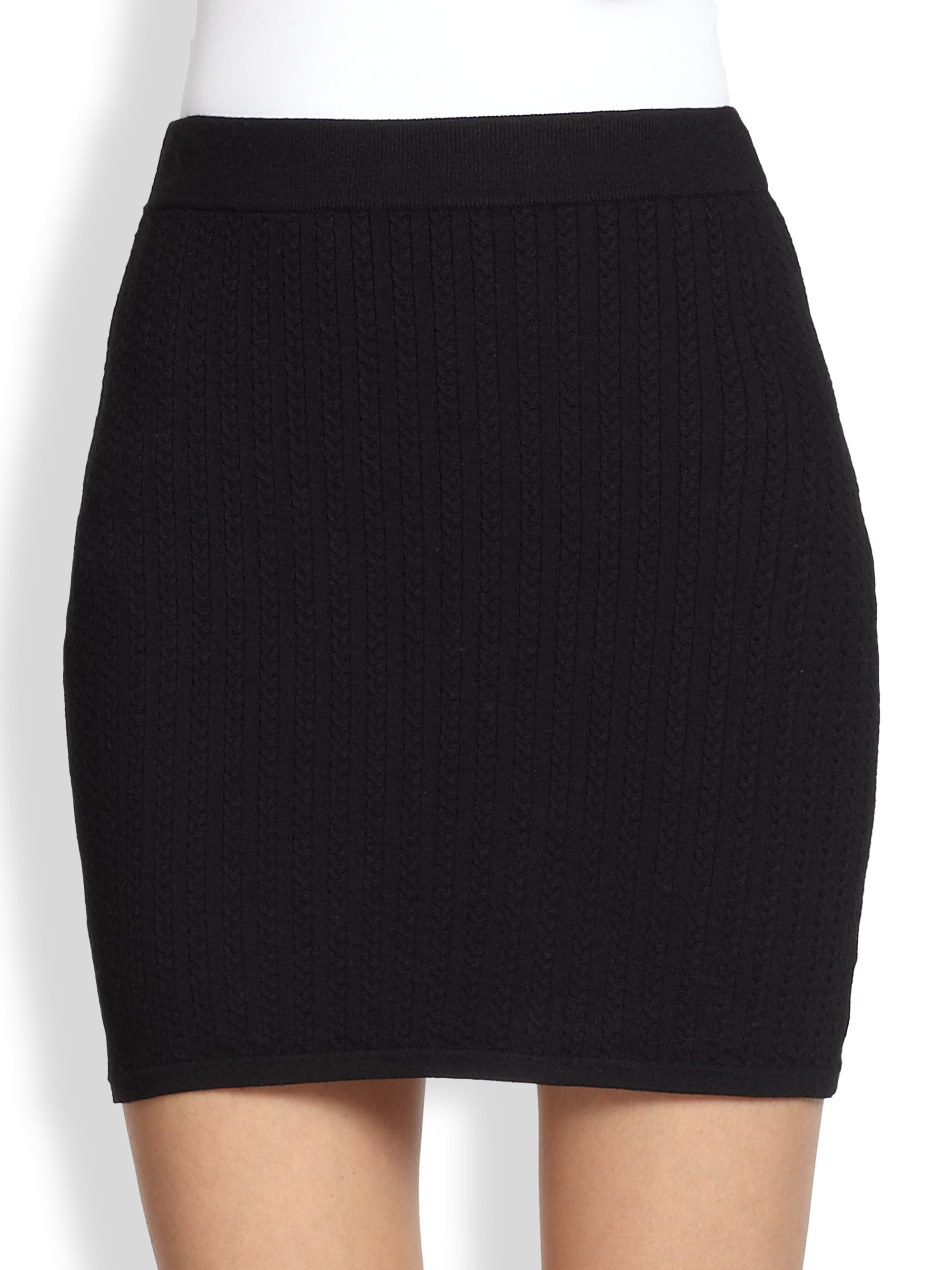 Rag & bone Lyla Ribbed Cableknit Mini Skirt in Black | Lyst