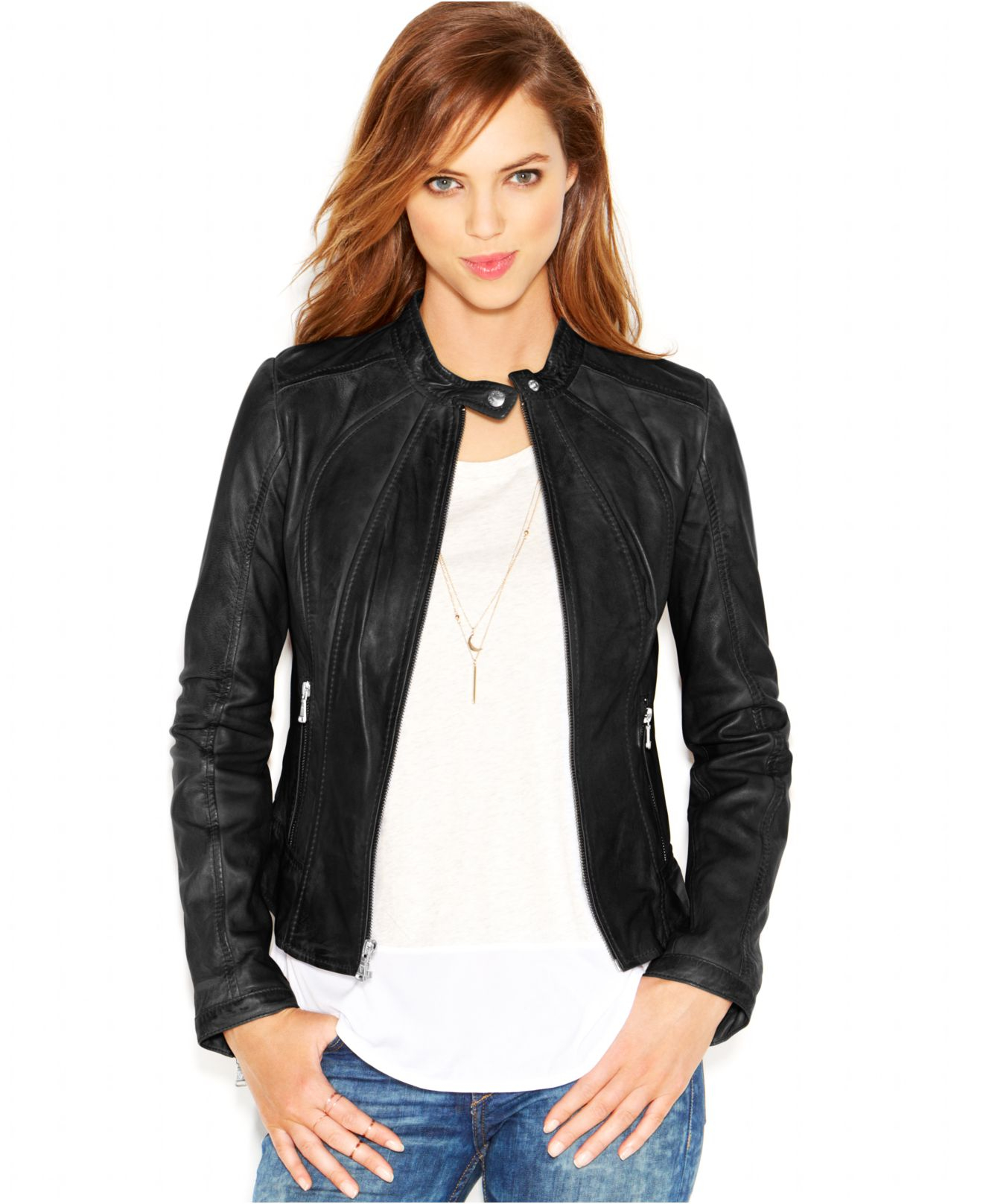 1db9eb6b7caee Gallery. Previously sold at  Macy s · Women s Collarless Leather Jackets ...