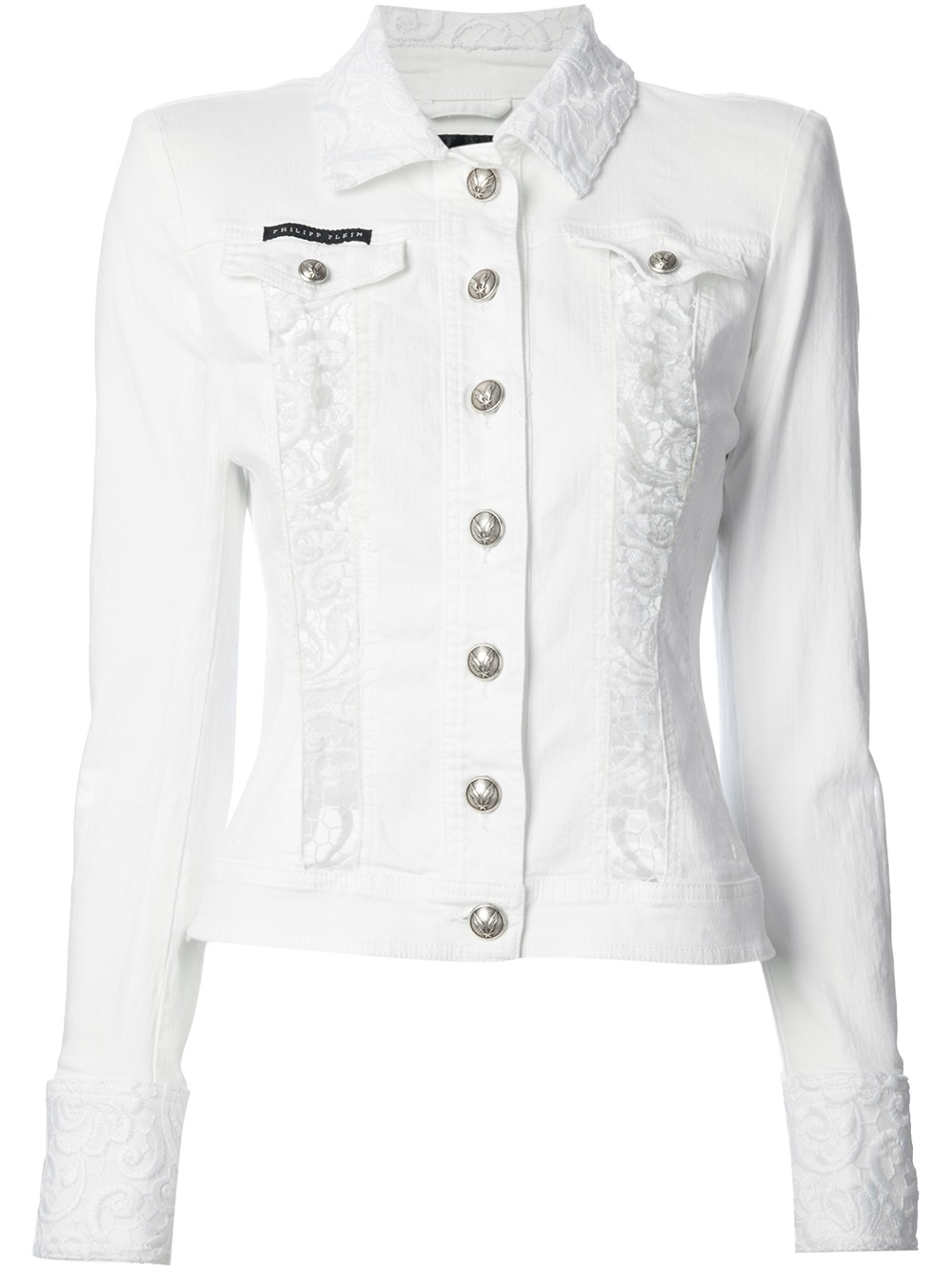 philipp plein embroidered denim jacket in white lyst. Black Bedroom Furniture Sets. Home Design Ideas