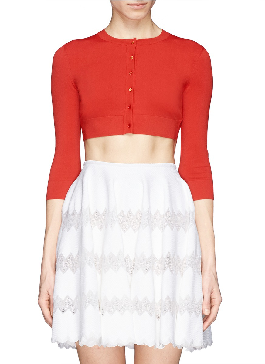 Gallery - Alaïa Crepe Cropped Cardigan In Red Lyst