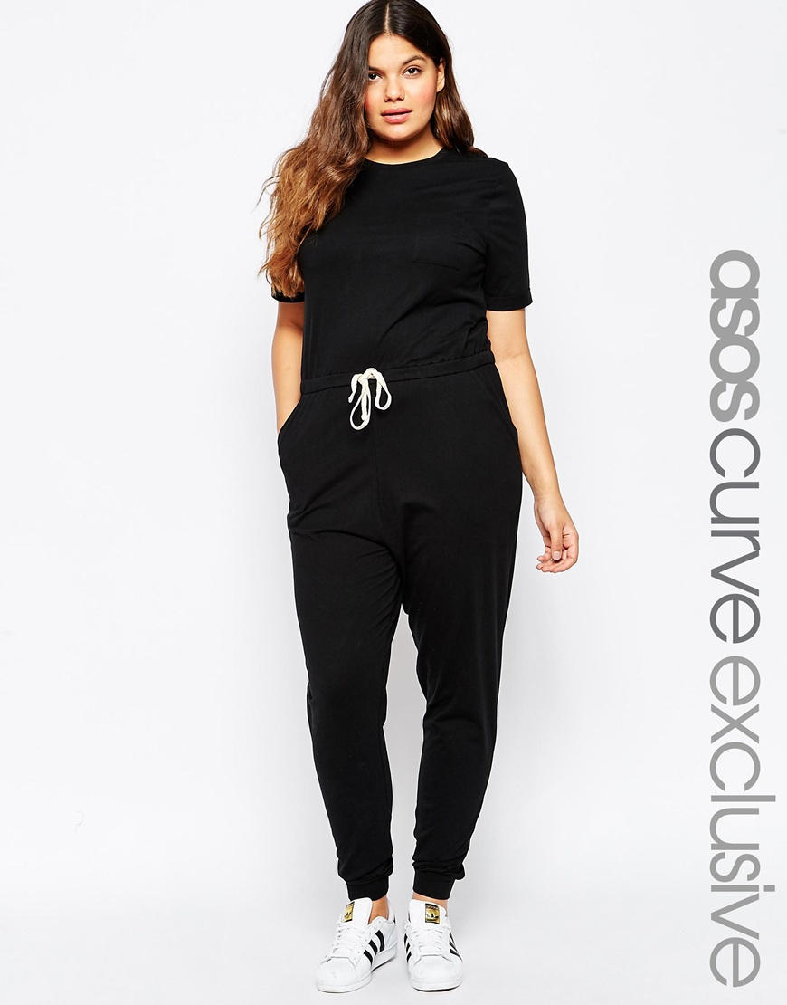 Asos Casual Jumpsuit With Drawstring in Black | Lyst