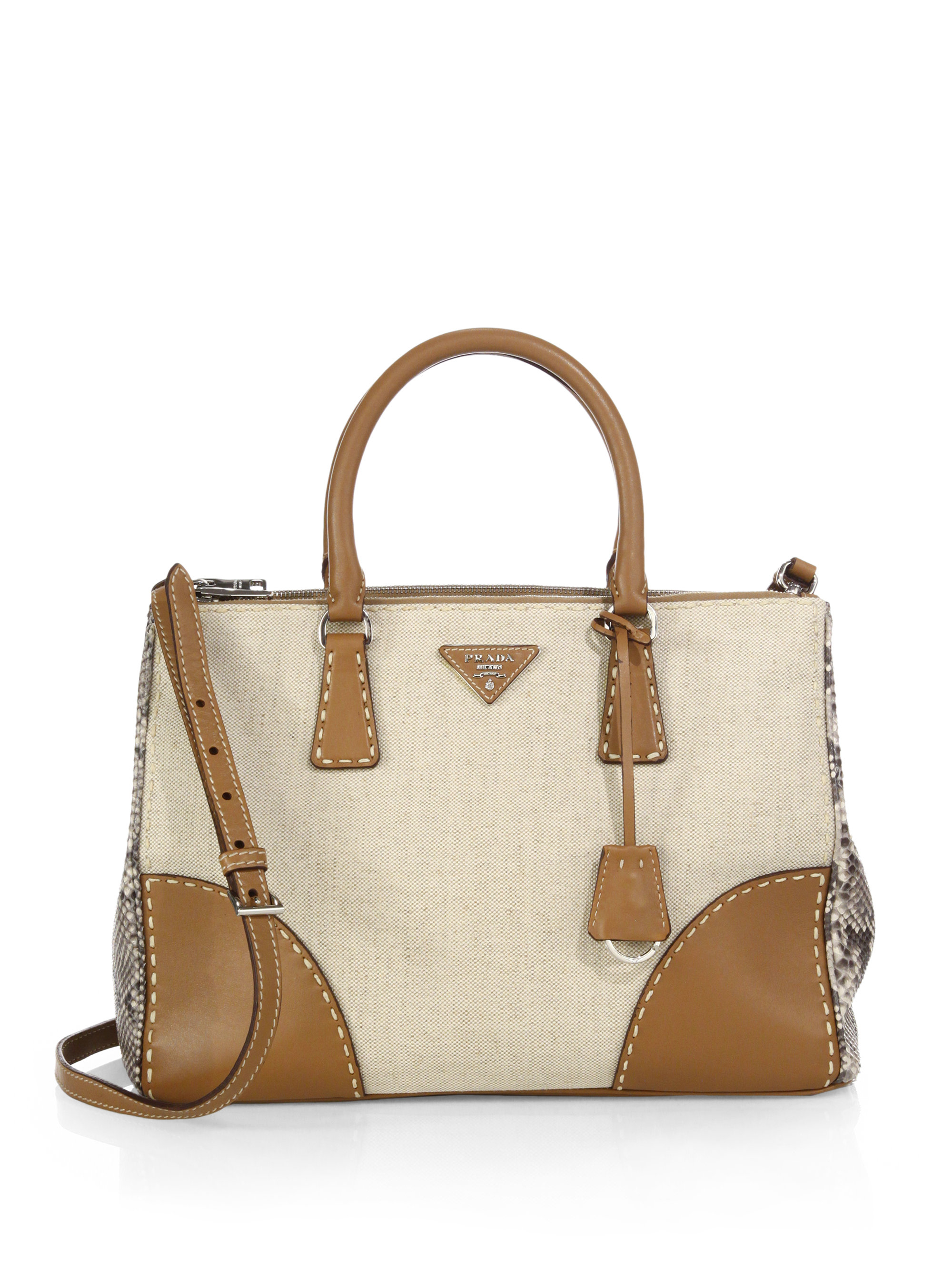 ... wholesale lyst prada canvas python double bag in brown cbd42 030ec ea81a59bbdb29
