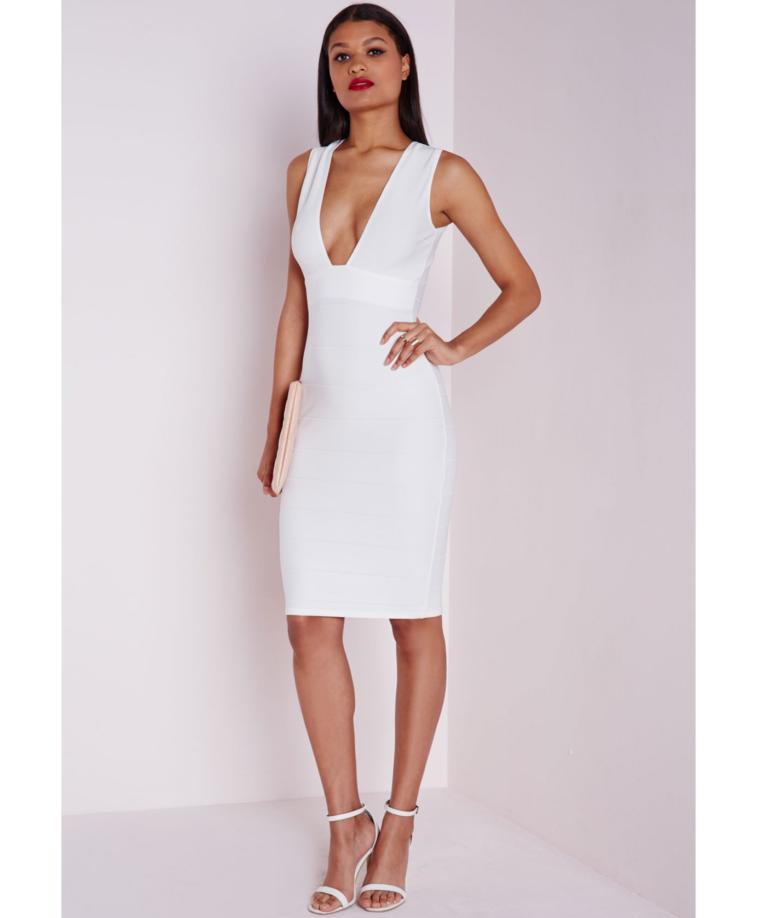 7b232154c9fa Lyst - Missguided Bandage Plunge Midi Dress White in White