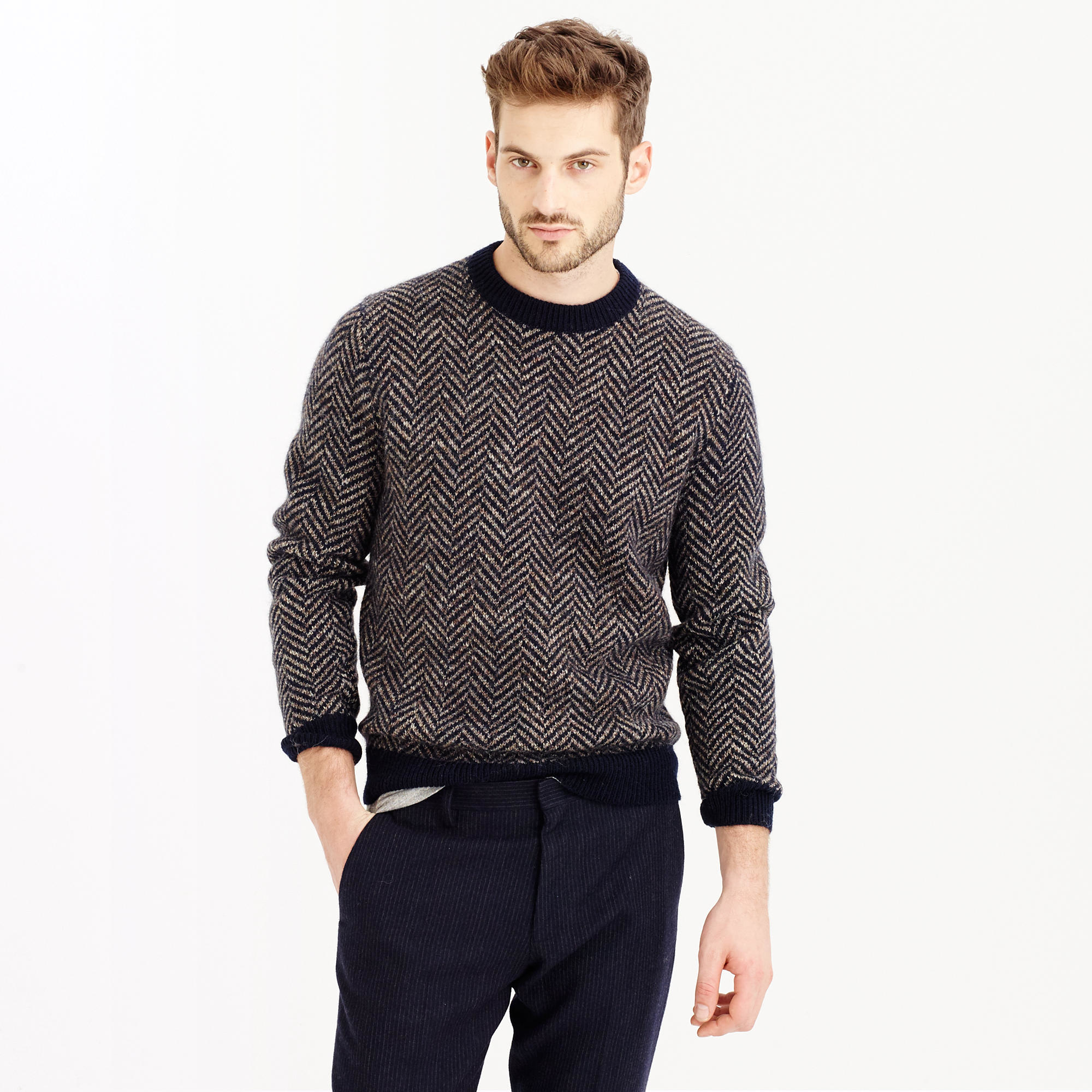 Wool herringbone sweater in blue for men lyst for J crew mens outfits