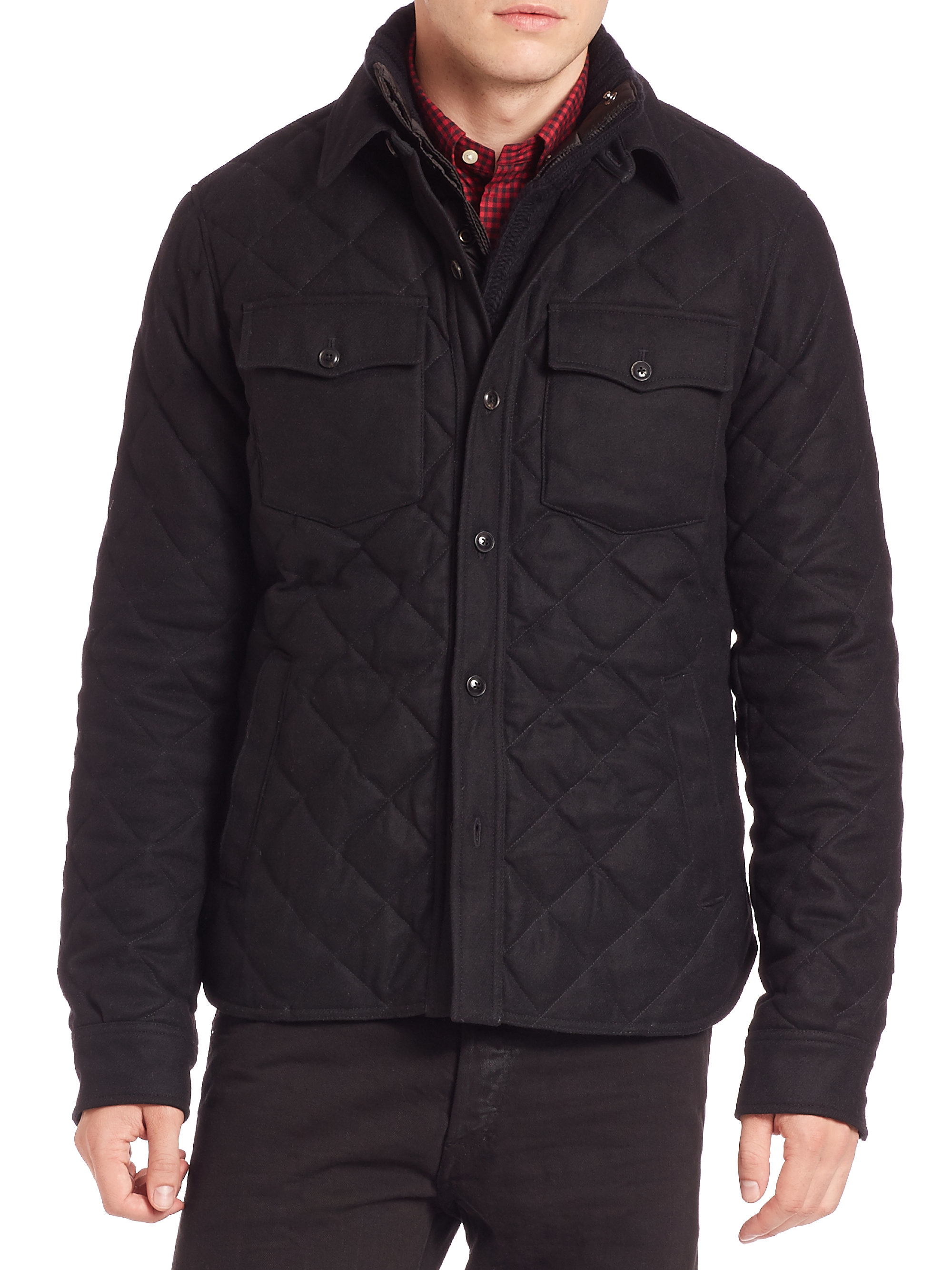 polo ralph lauren quilted officer 39 s jacket in black for men lyst. Black Bedroom Furniture Sets. Home Design Ideas