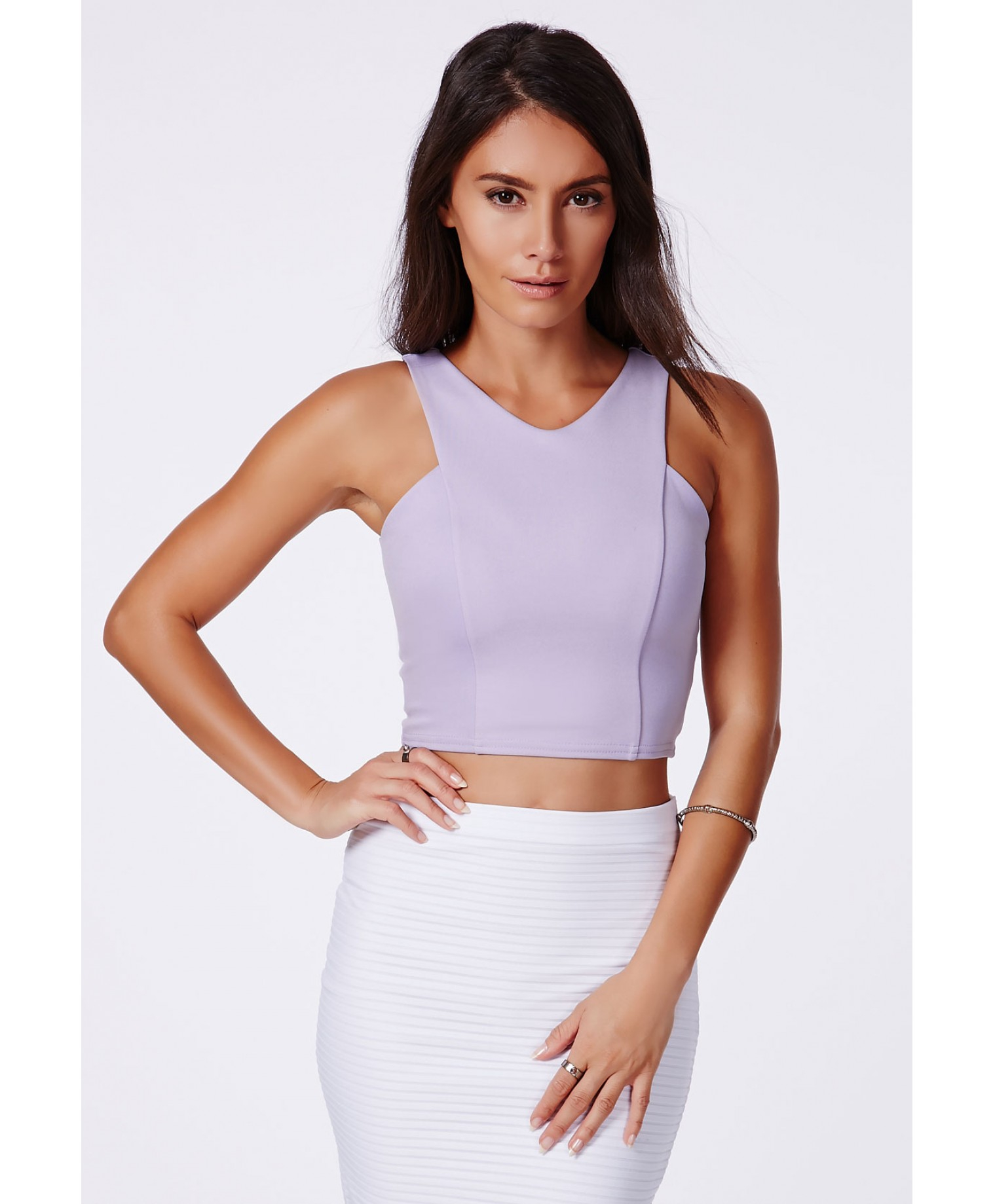 Missguided Krystyna Lilac Scuba Crop Top With V
