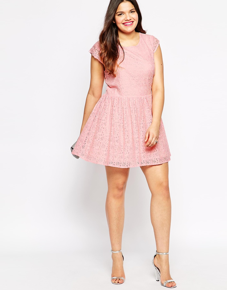 Lyst - Diya Plus Size White And Green Ombre Lace Dress in Pink