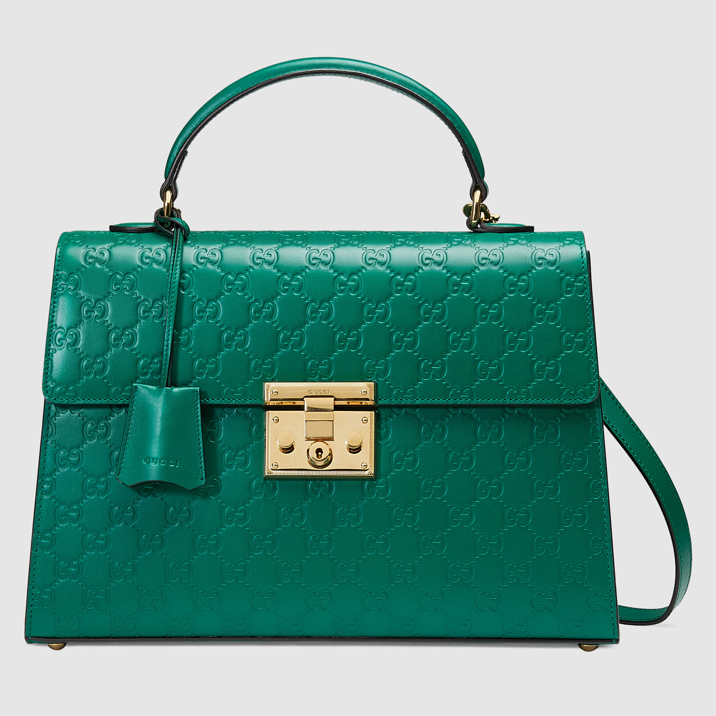 c64154ace76d Lyst - Gucci Padlock Signature Top Handle Leather Bag in Green