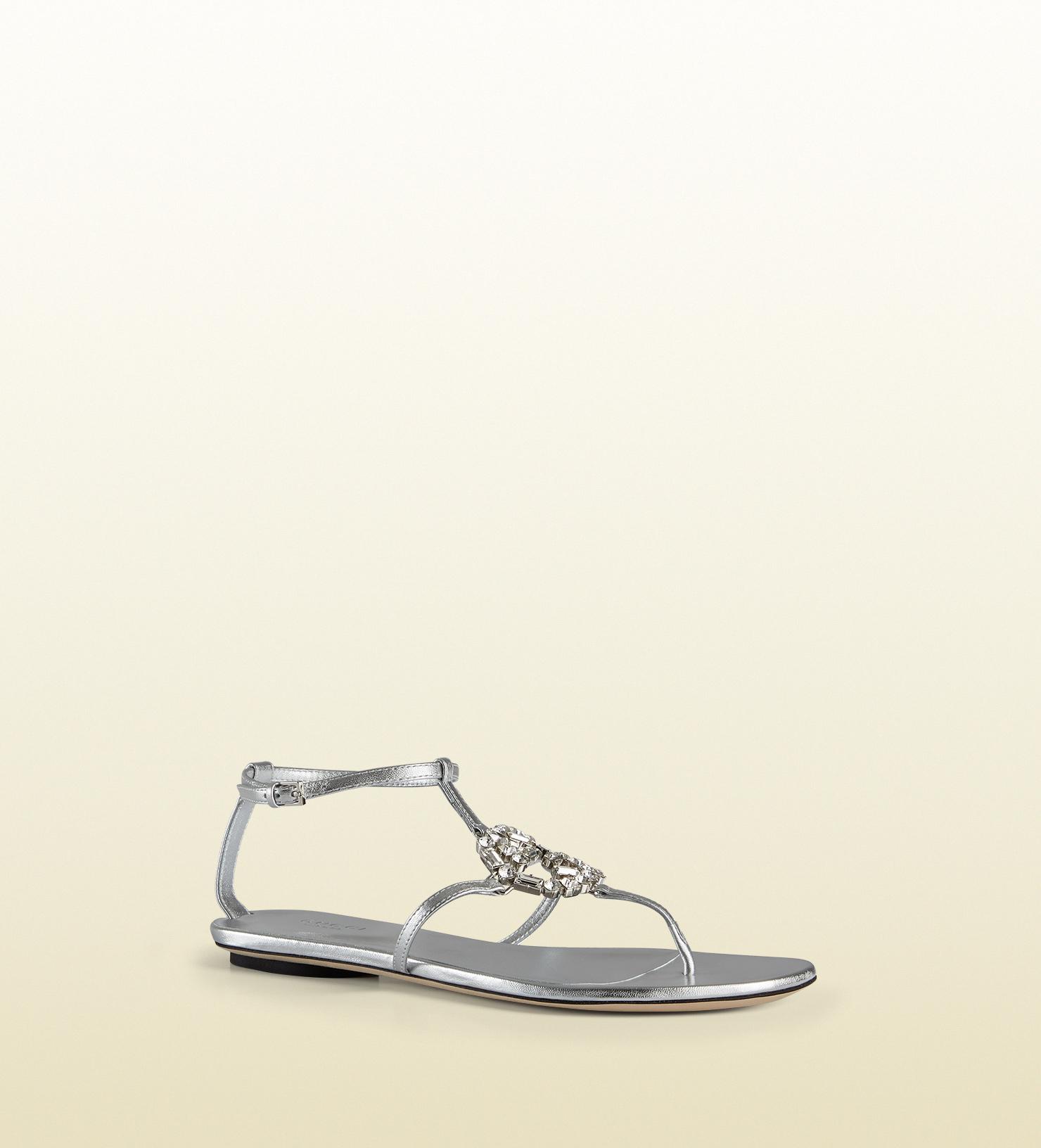 9fdd71abb69 Lyst - Gucci Gg Sparkling Metallic Leather Thong Sandal in Metallic