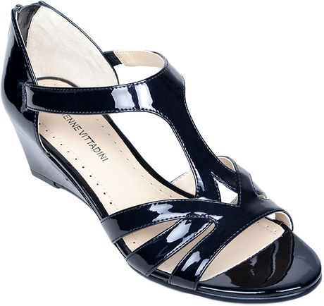 Adrienne Vittadini Corette Patent Leather Wedge Sandals In