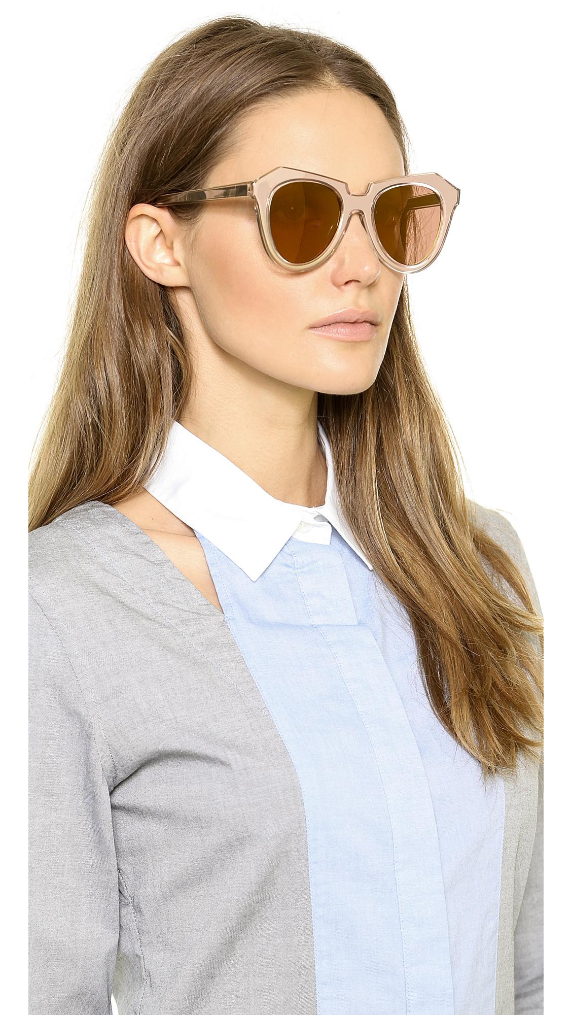47f87bddbd4 Lyst - Karen Walker Number One Mirrored Sunglasses - Gold Gold Flash ...