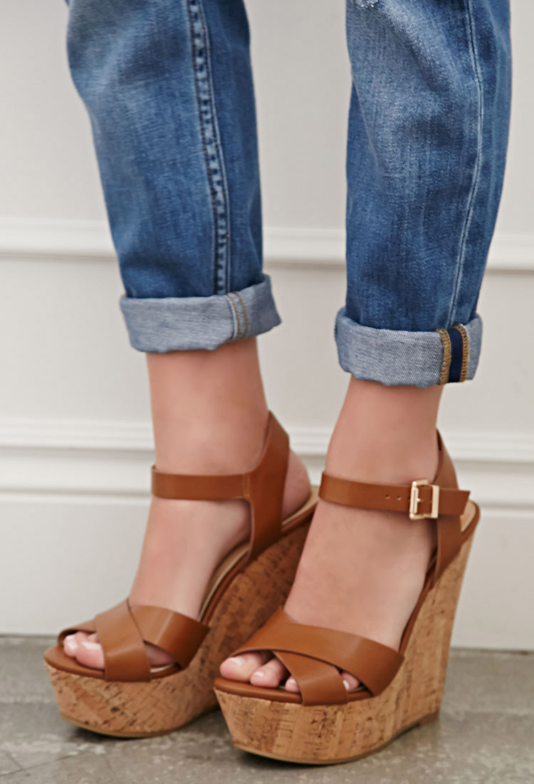 Lyst - Forever 21 Strappy Cork-sole Platform Wedges in Brown cfef1708c7b1