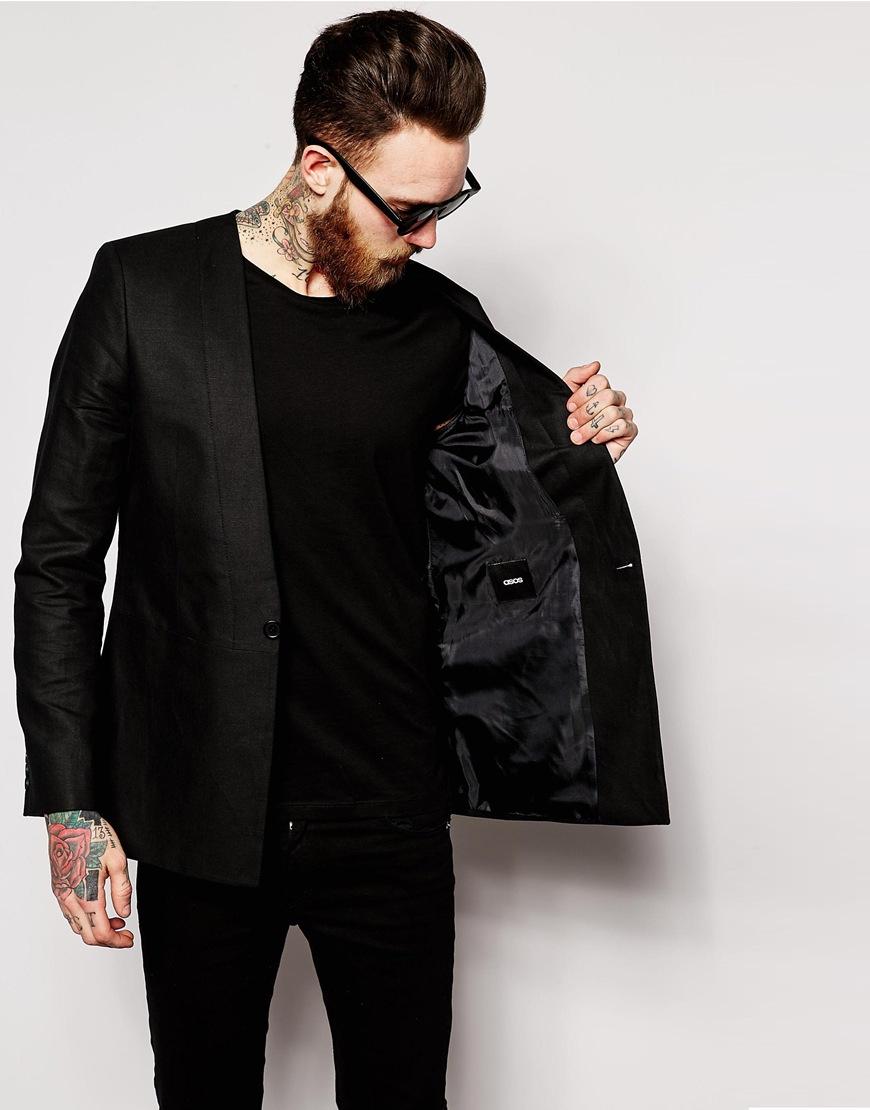 Asos Slim Fit Collarless Blazer In Black For Men | Lyst
