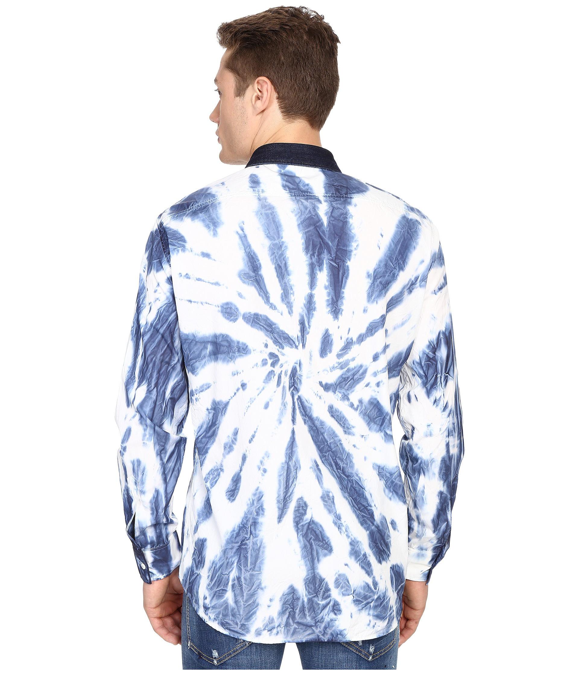 Dsquared tie dye wash relax dan shirt in white for men lyst for How to wash tie dye shirt after dying