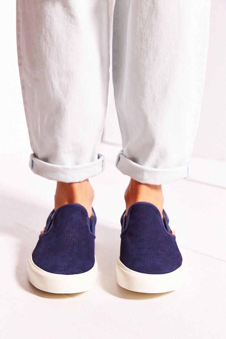 b05cb73f5f Lyst - Vans Classic Knit Suede Slip-on Women s Sneaker in Blue