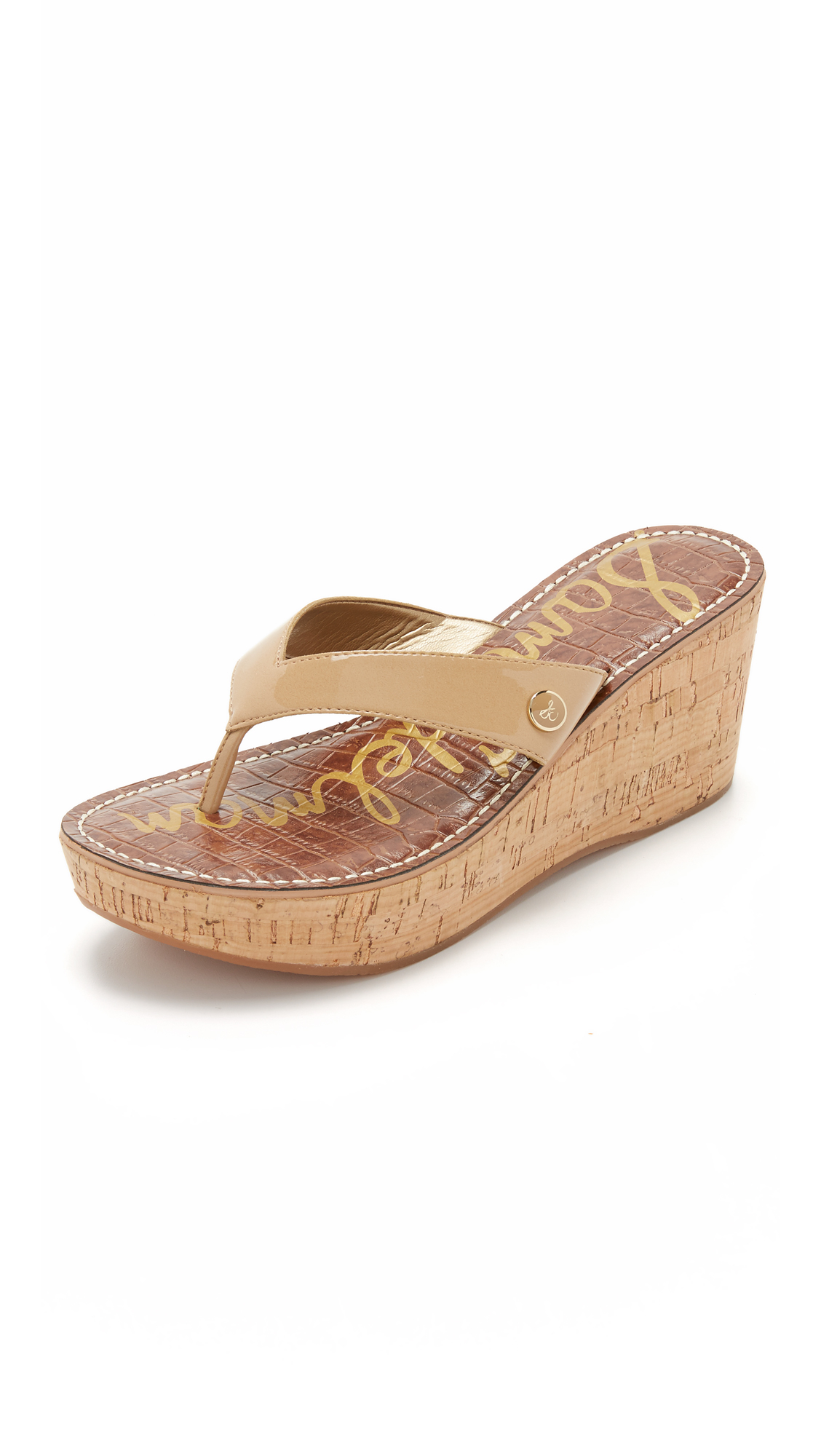 2f17421ada352 Sam Edelman Romy Wedge Thong Sandals in Brown - Lyst