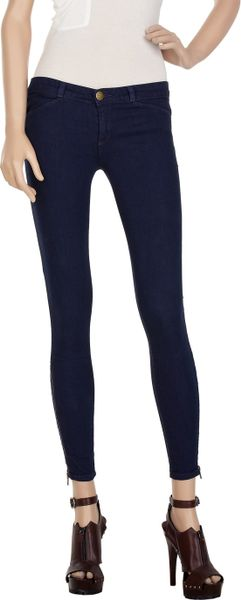 Current/elliott The Cropped Legging Low-rise Jeans in Blue