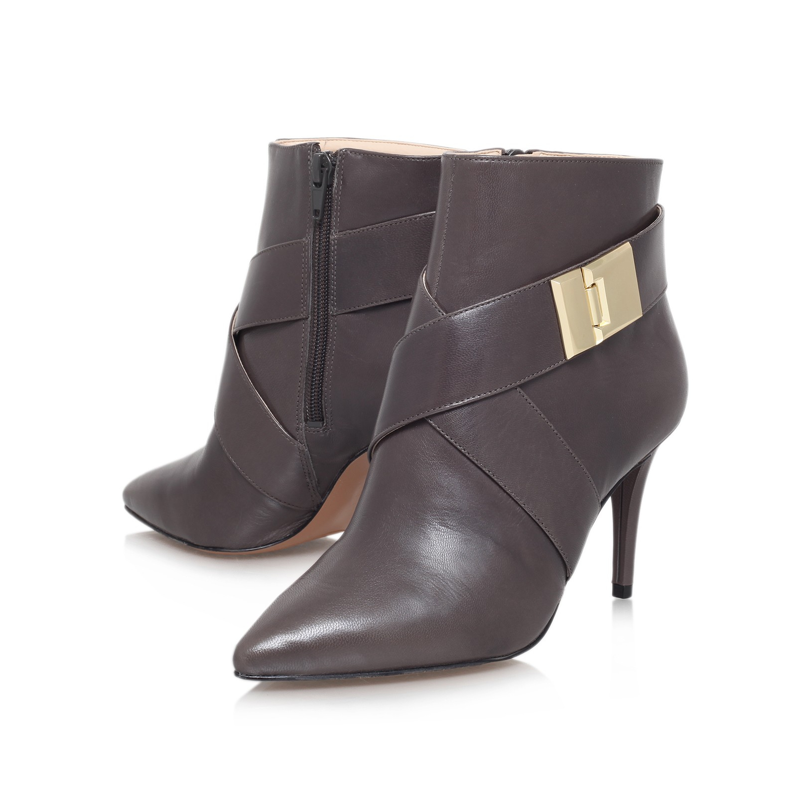 nine west palencia high heel ankle boots in gray grey lyst