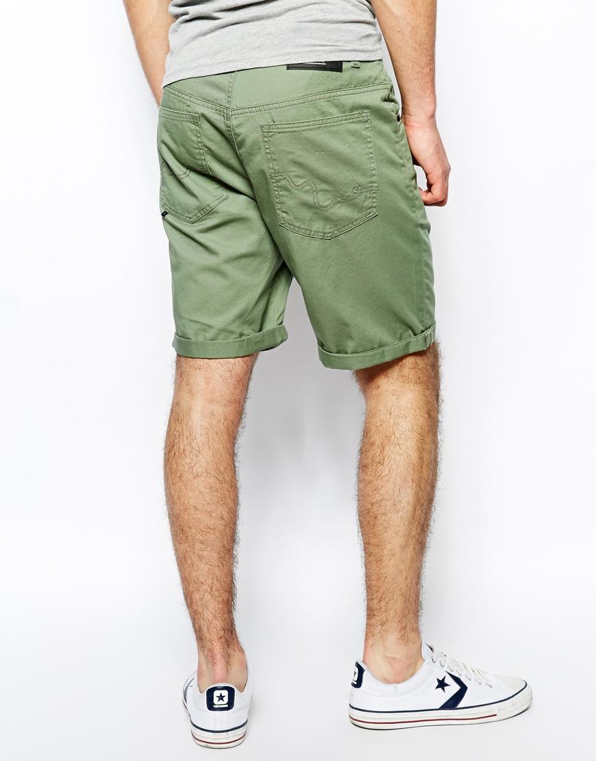 Mens Green Chino Shorts