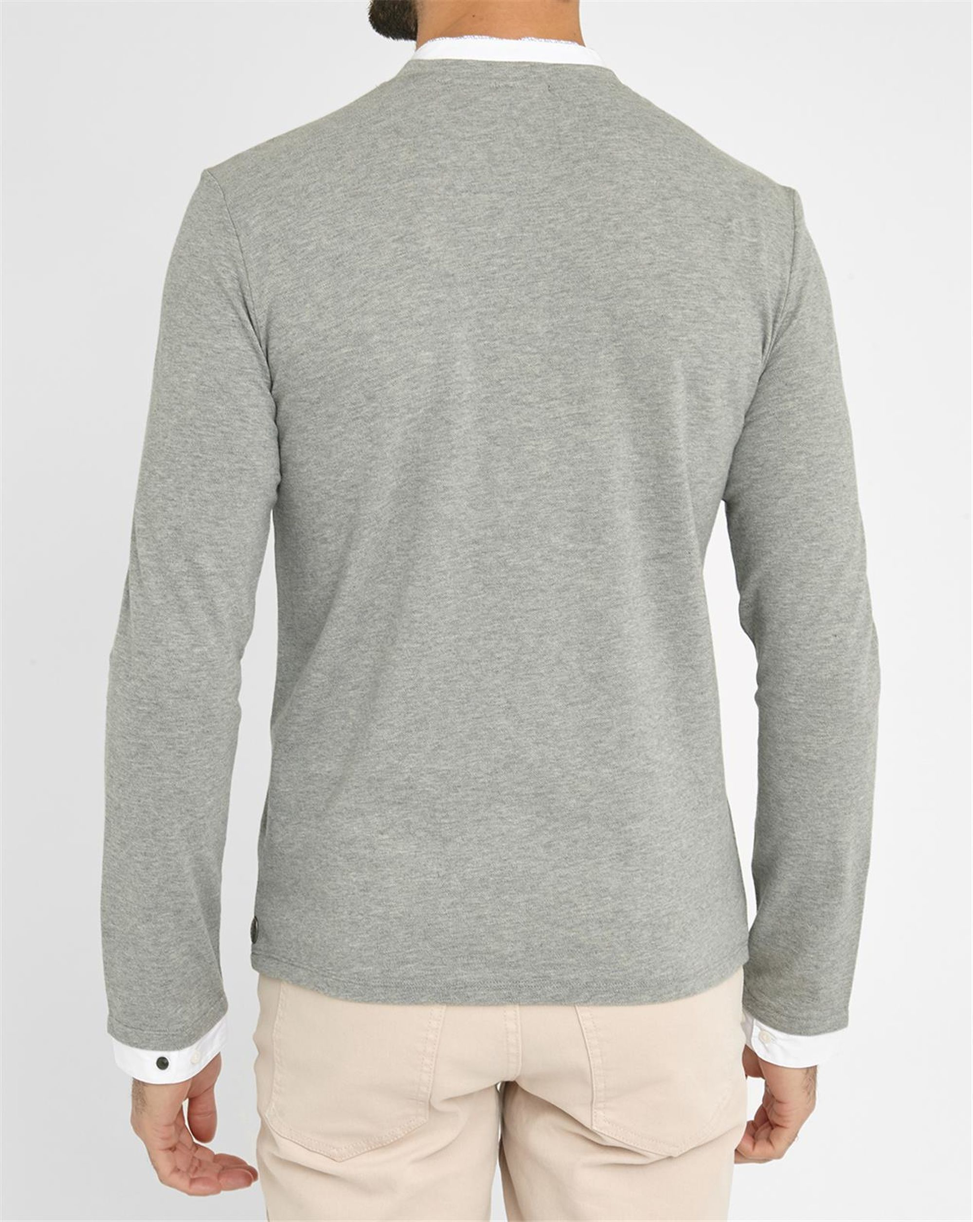 ikks grey ls grandad collar lined polo shirt in gray for men lyst. Black Bedroom Furniture Sets. Home Design Ideas